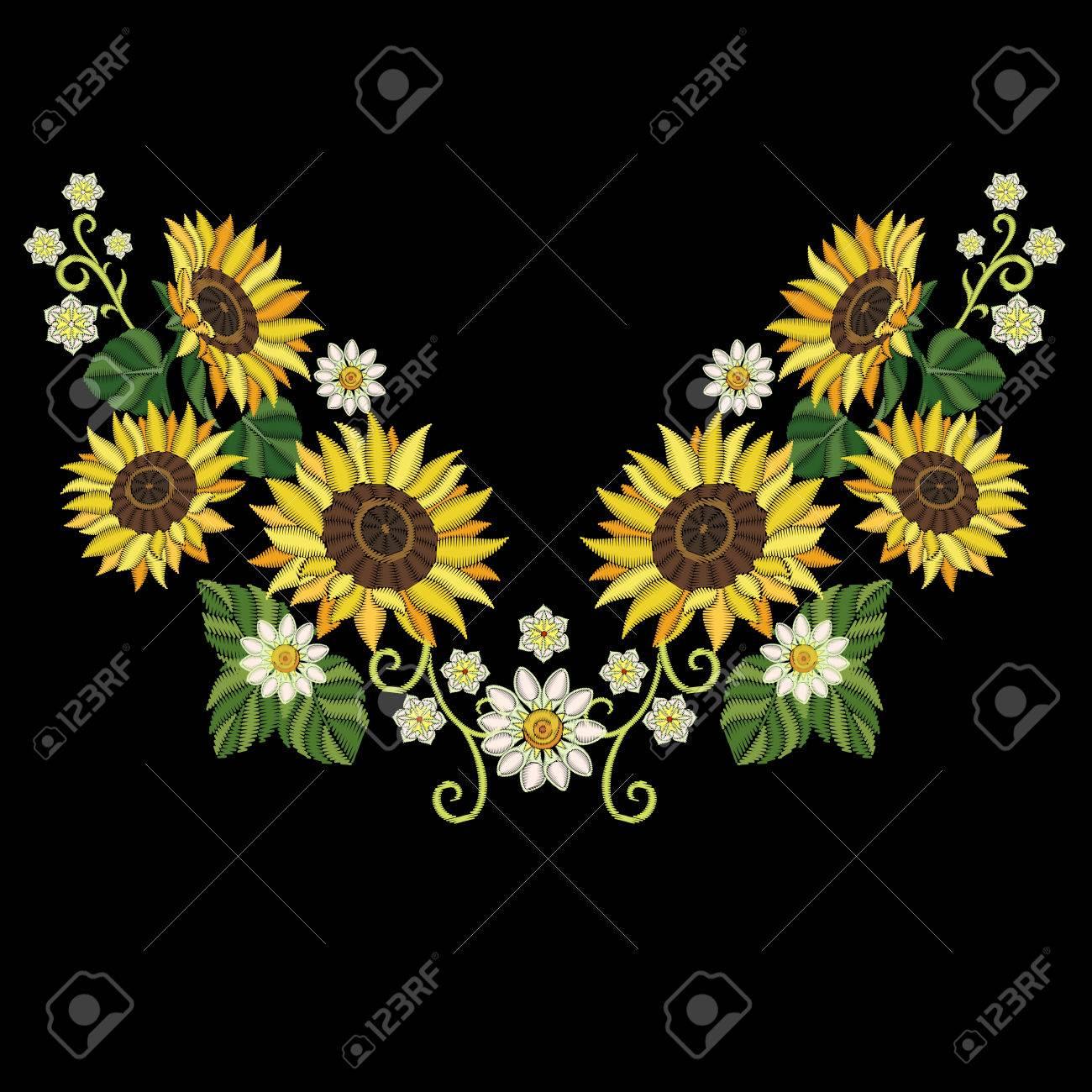 Diseno Del Bordado Coleccion Bordada De Girasoles Y De Flores De La
