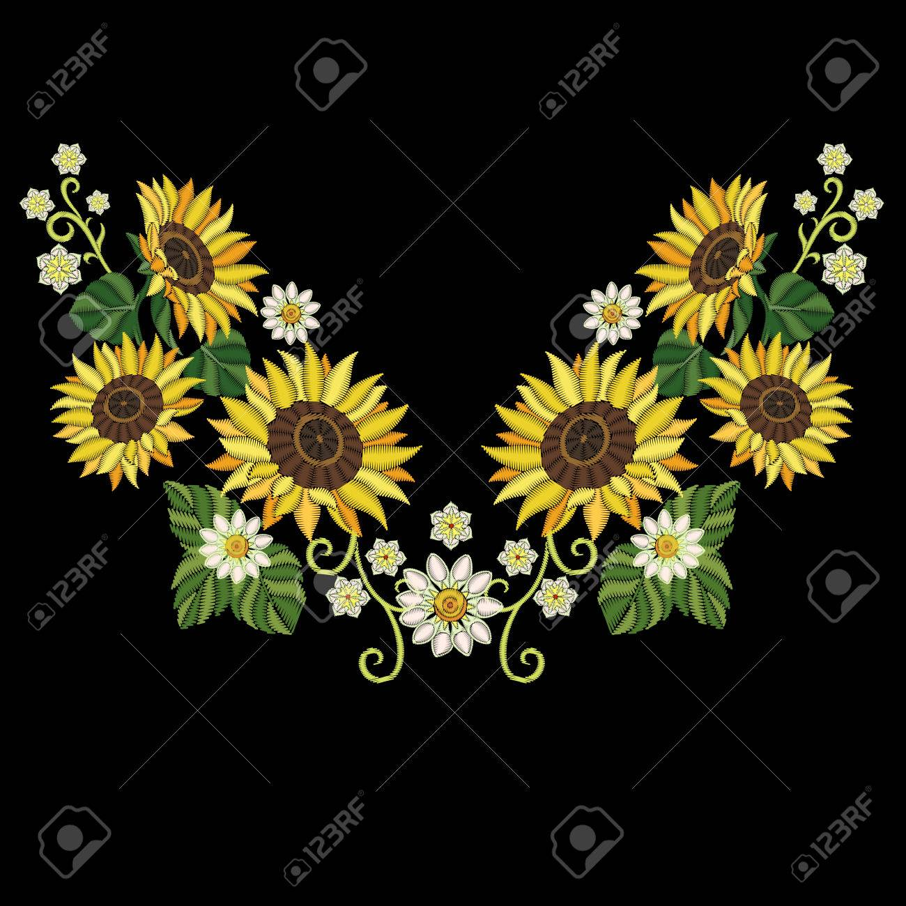 Embroidery Design Embroidered Collection Of Sunflowers And Daisy Flowers For Fabric Pattern Textile Print