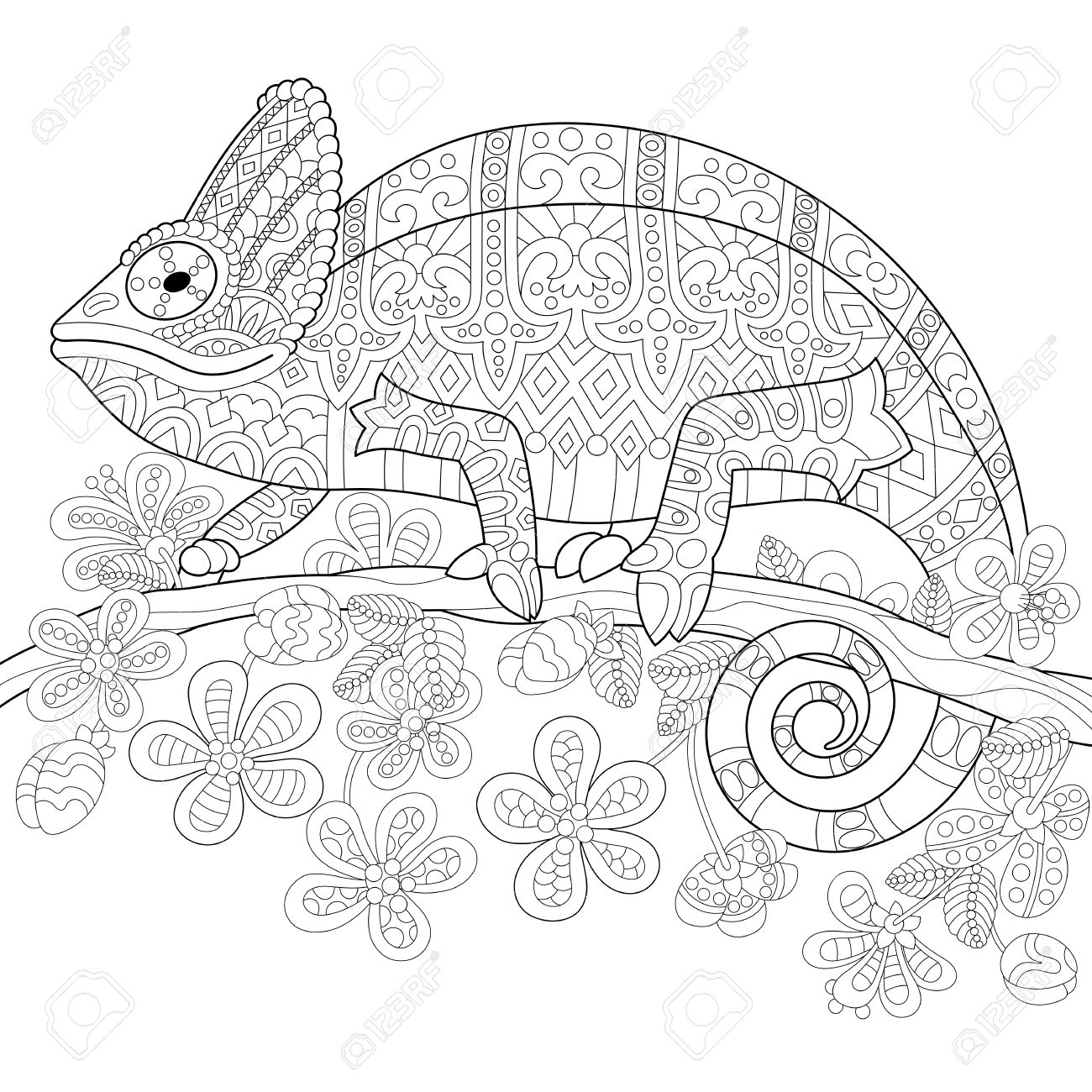 Coloring Book Page Of Chameleon Lizard And Stylized Tropical Flowers Freehand Sketch Drawing For Adult
