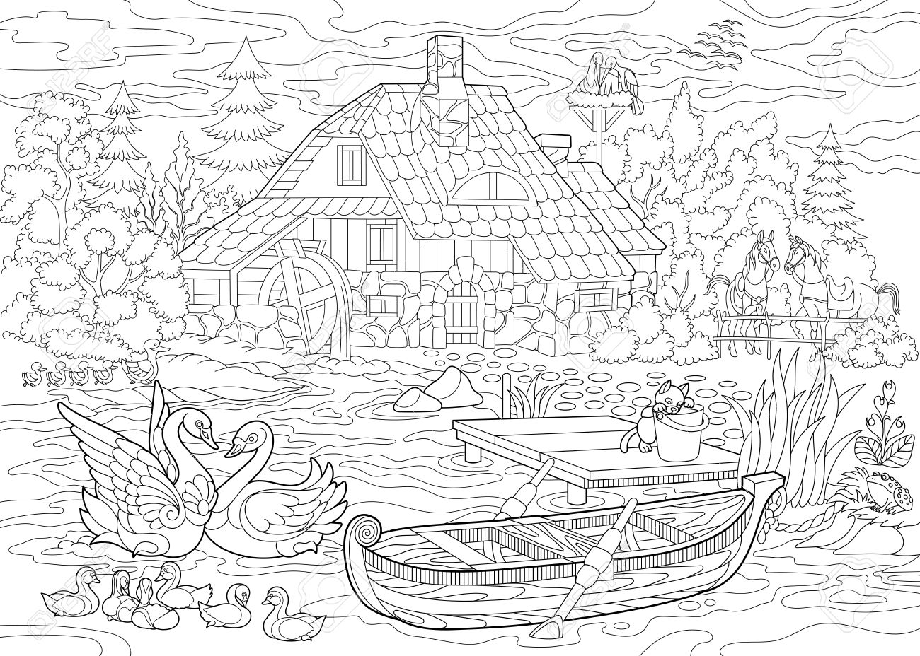 Coloring Book Page Of Rural Landscape Farm House Ducks Kitten Swans