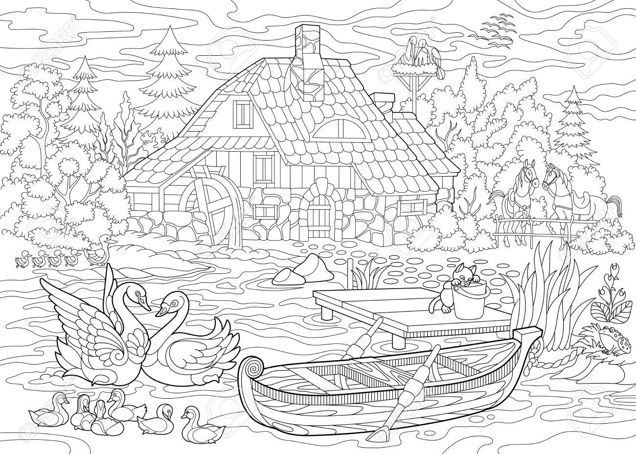 Malbuch Buchseite Der Ländlichen Landschaft, Bauernhaus, Enten ...