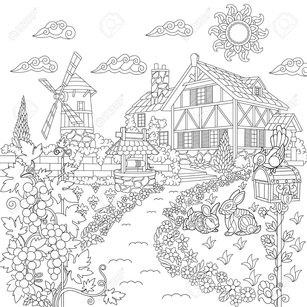 Coloring Book Page Of Rural Landscape. Farm House, Windmill ...