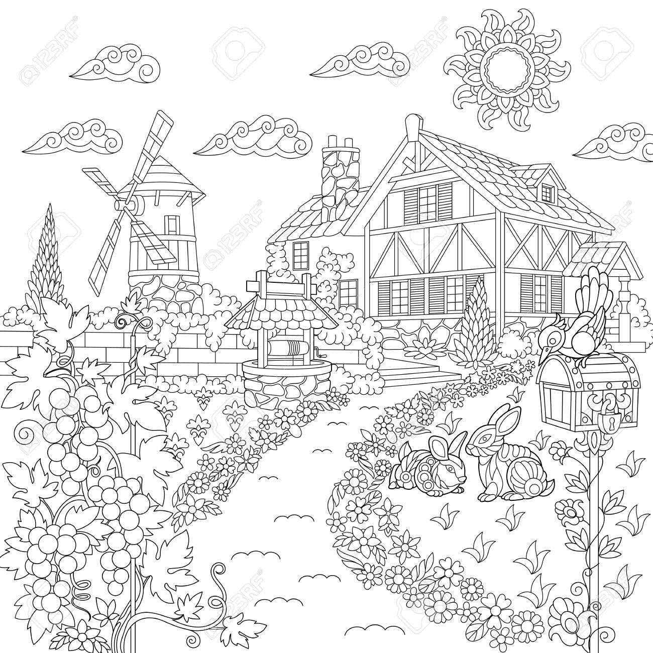 Página Del Libro Para Colorear Del Paisaje Rural. Granja, Molino De ...