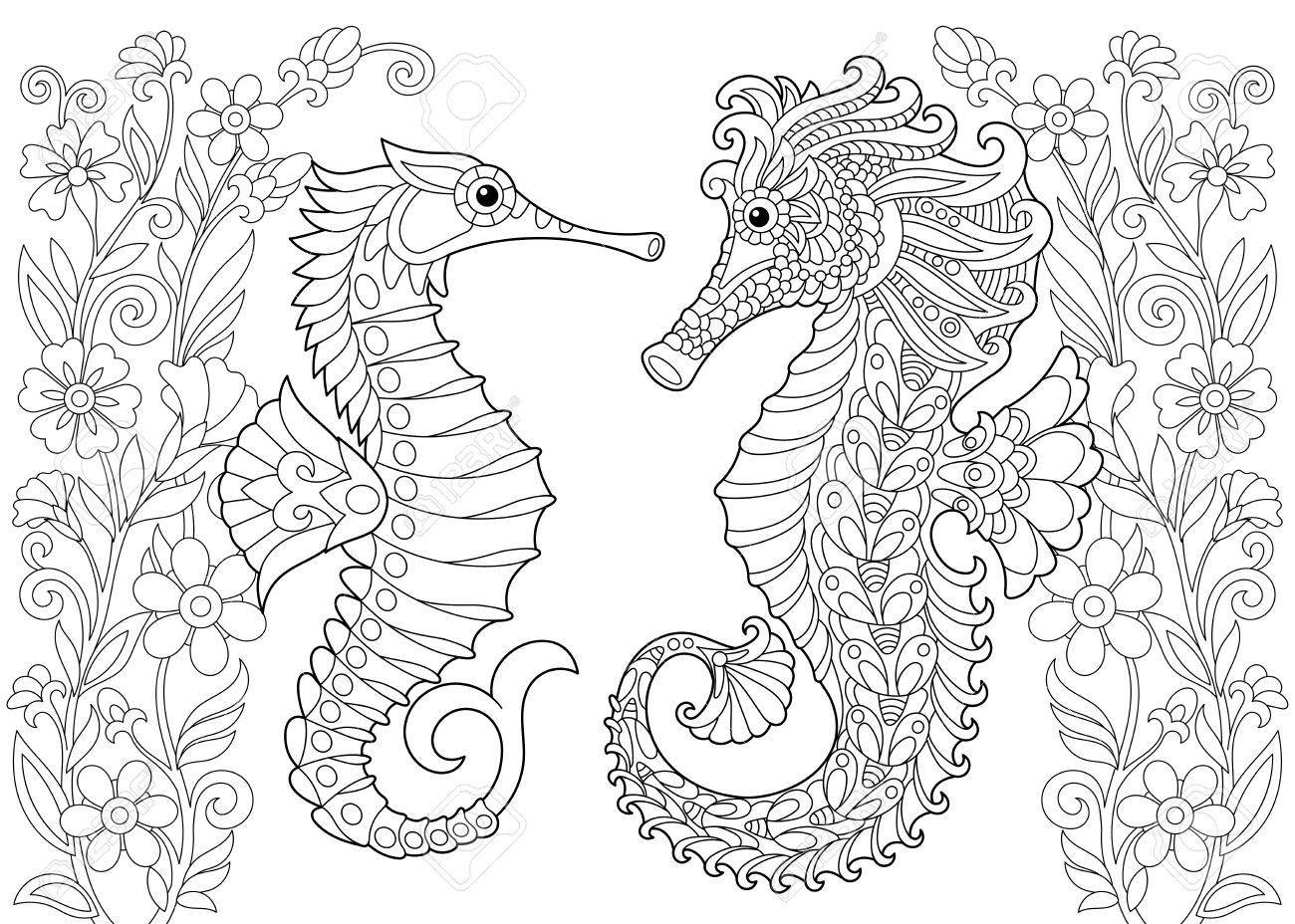 Malvorlage Von Seepferdchen Freehand Skizze Zeichnung Für Erwachsene ...