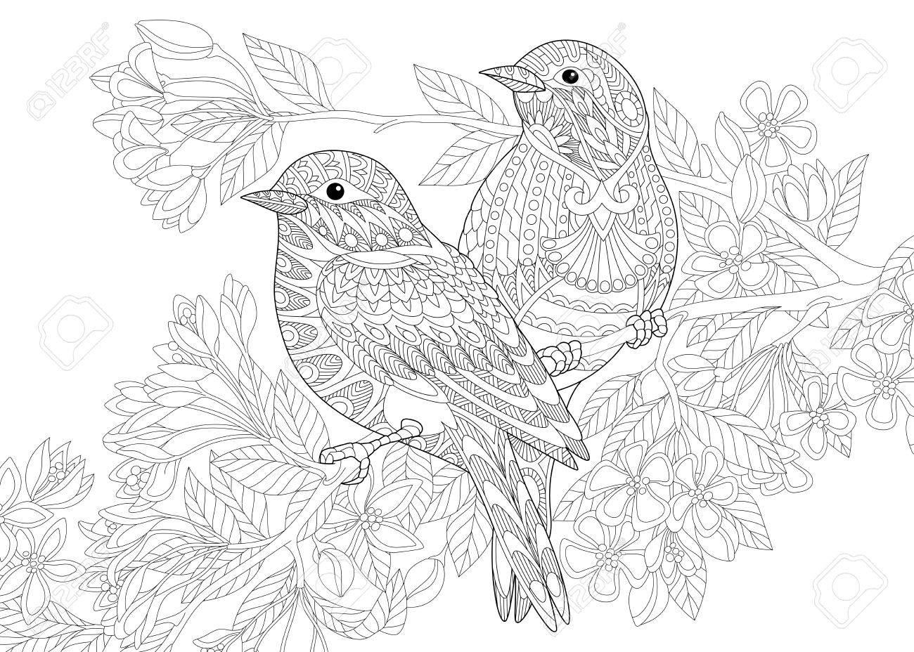 Dibujo Para Colorear De Dos Pájaros. Dibujo De Bosquejo A Mano ...