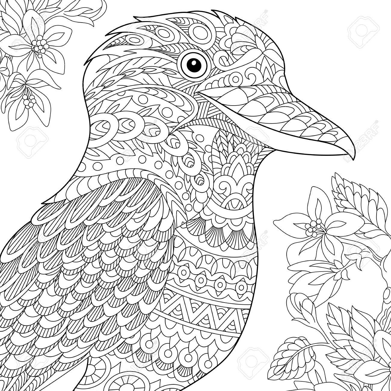 Coloring Page Australian Kookaburra Bird Freehand Sketch Drawing For Adult Antistress Book In