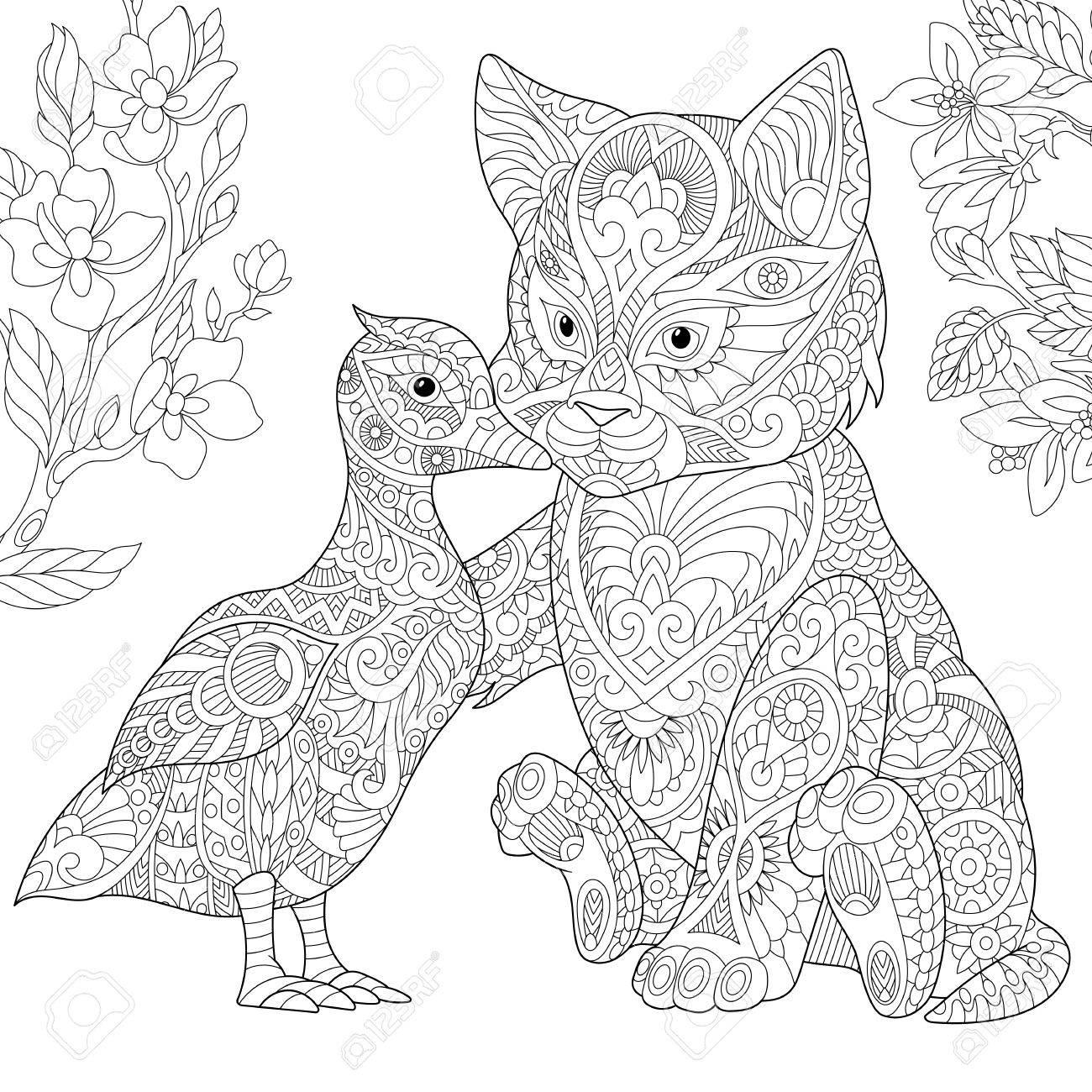 Dibujo Para Colorear. Gato Y Pato Abrazándose. Dibujo De Bosquejo A ...