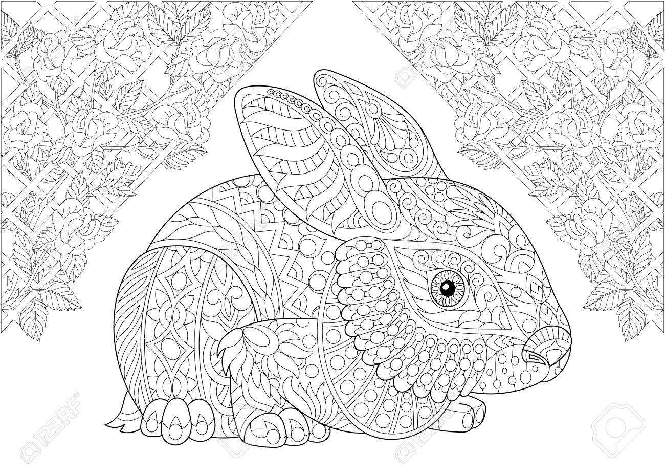 Coloring page. Rabbit from wonderland and rose flowers. Freehand sketch drawing for adult antistress colouring book in zentangle style. - 82877895