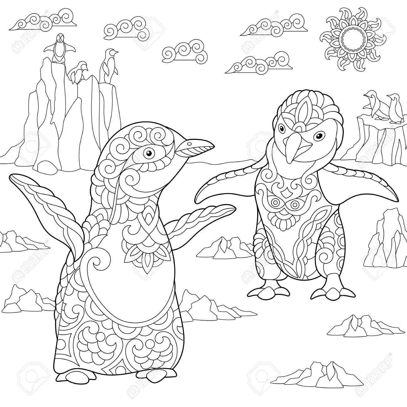 Dibujo Para Colorear De Pingüinos Jóvenes Entre El Paisaje ártico Dibujo De Bosquejo A Mano Alzada Para El Libro Para Colorear Antistress Adulto