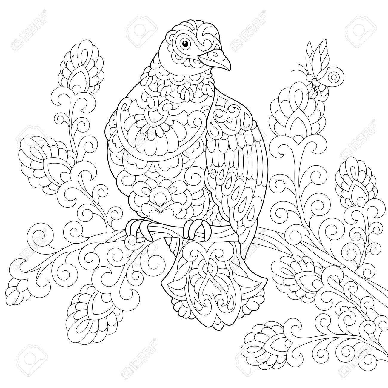 Coloring Page Of Dove (pigeon) Bird. Freehand Sketch Drawing ...