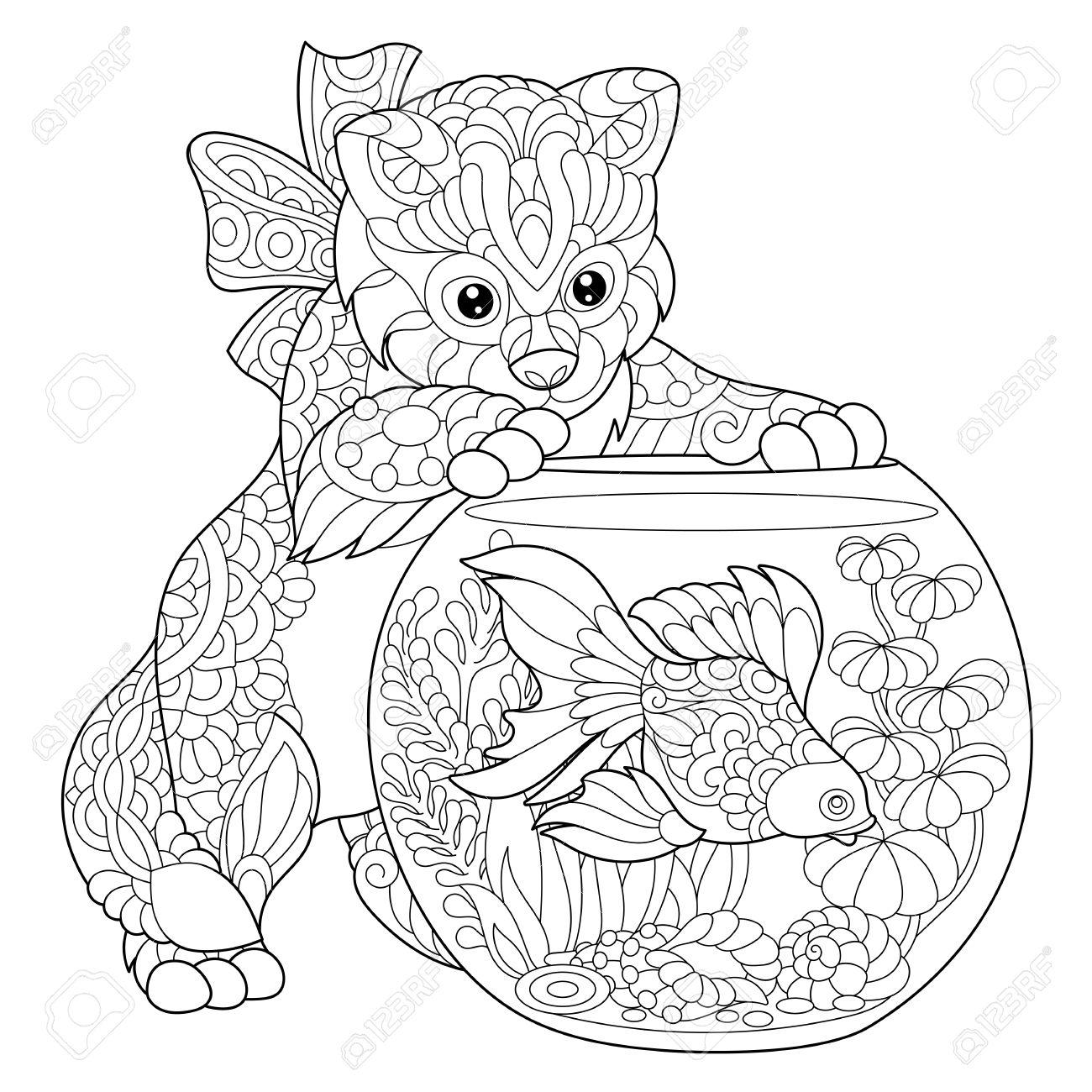 Kleurplaat Van Kitten Af Over Goudvis In Het Aquarium Schets Uit De Vrije Hand Tekenen Voor Volwassen Antistress Kleurboek Met Doodle En Zentangle
