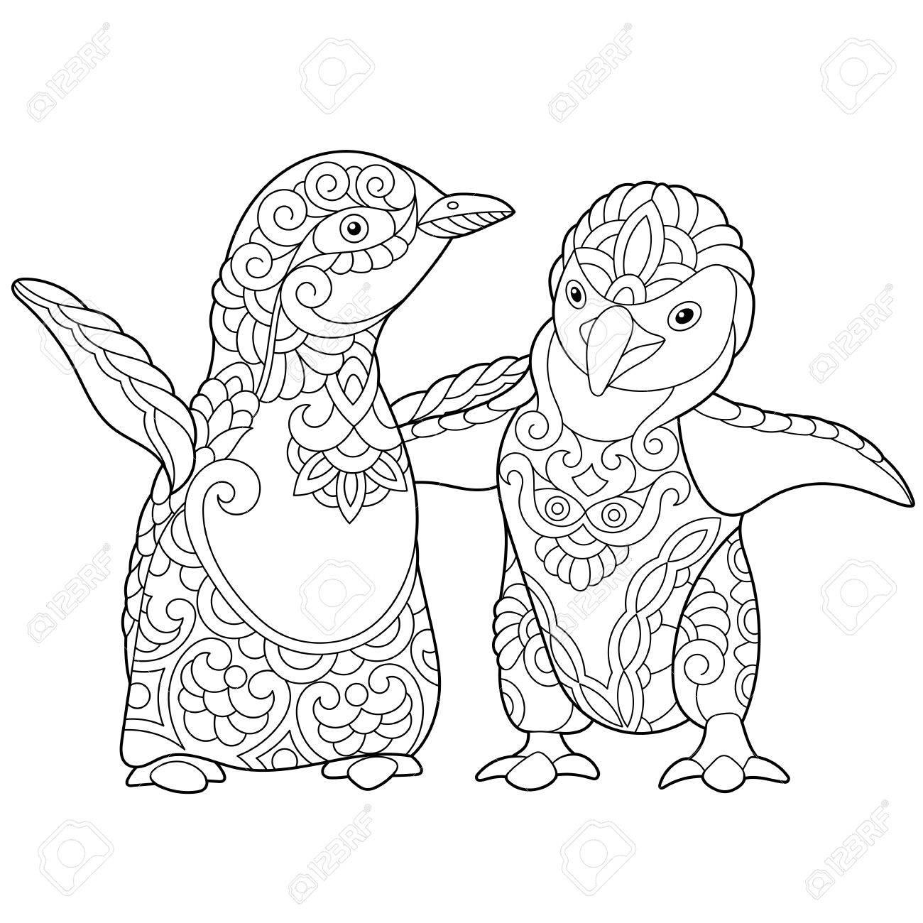 Dibujo Para Colorear De Los Pingüinos Emperador Jóvenes Aislados En Fondo Blanco Dibujo De Bosquejo A Mano Alzada Para El Libro Para Colorear