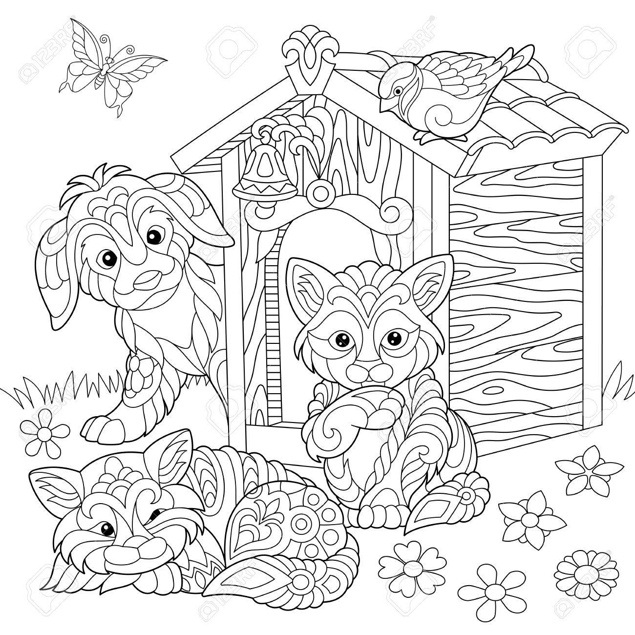 Dibujo Para Colorear De Perro, Dos Gatos, Pájaro Gorrión Y Mariposa ...