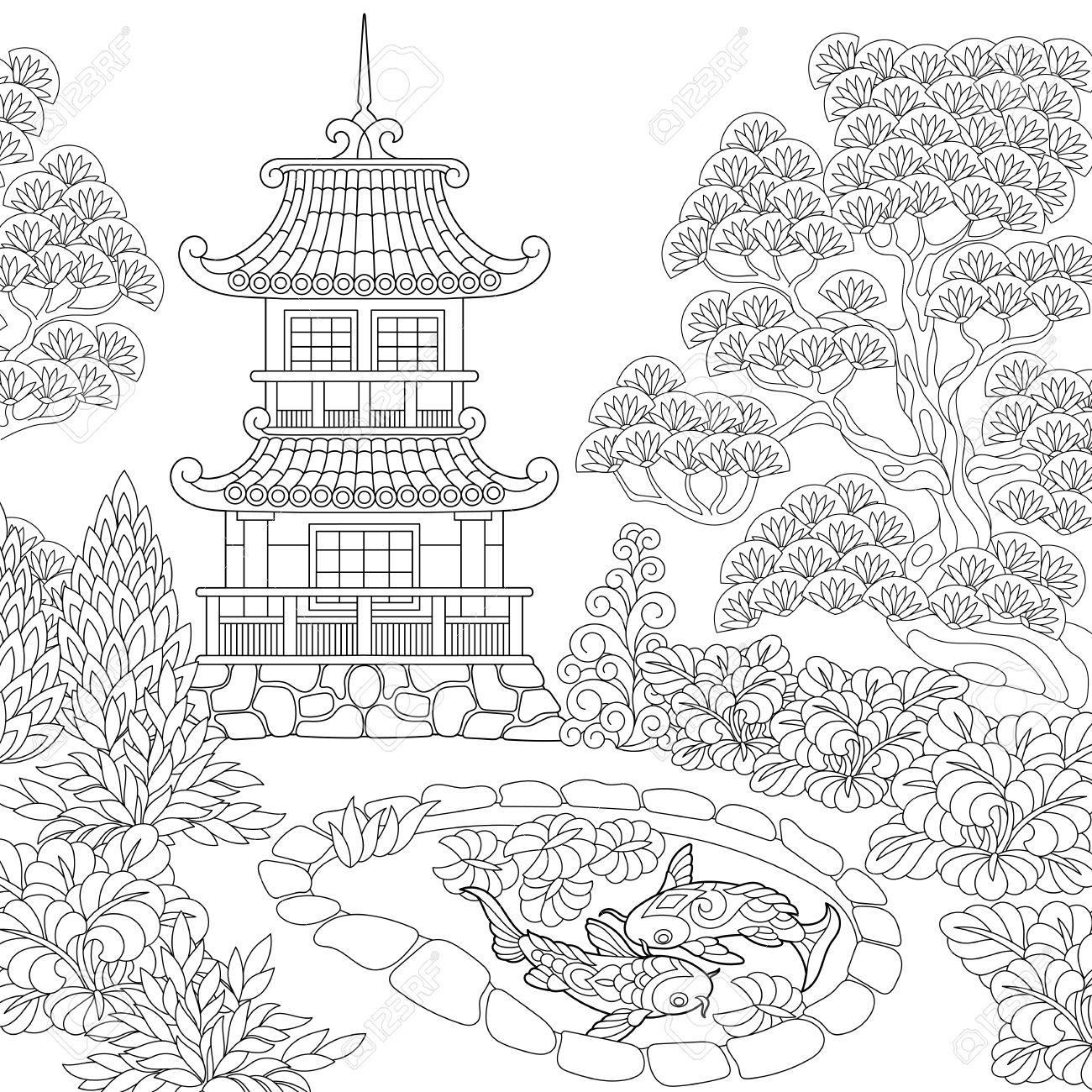 Coloriage Du Temple Oriental Tour Pagode Japonaise Ou Chinoise