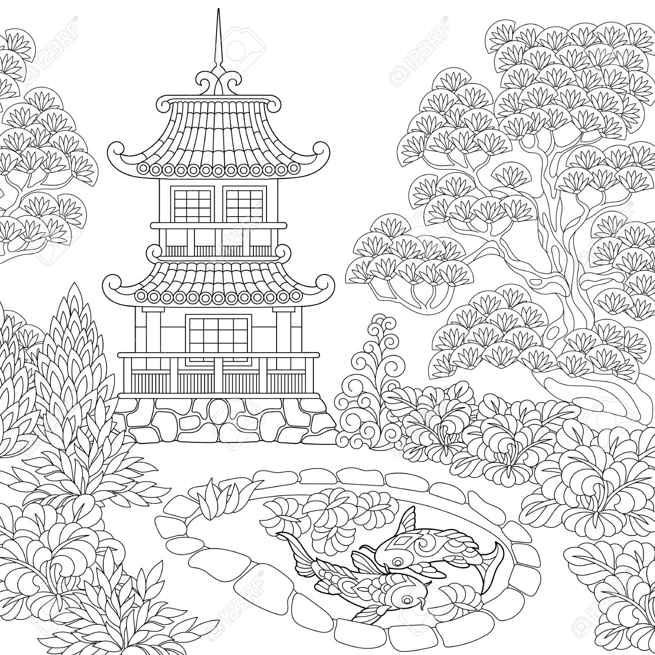 Antistress Coloring Book Page Of Oriental Temple Japanese Or Chinese Pagoda Tower Freehand Sketch Drawing For