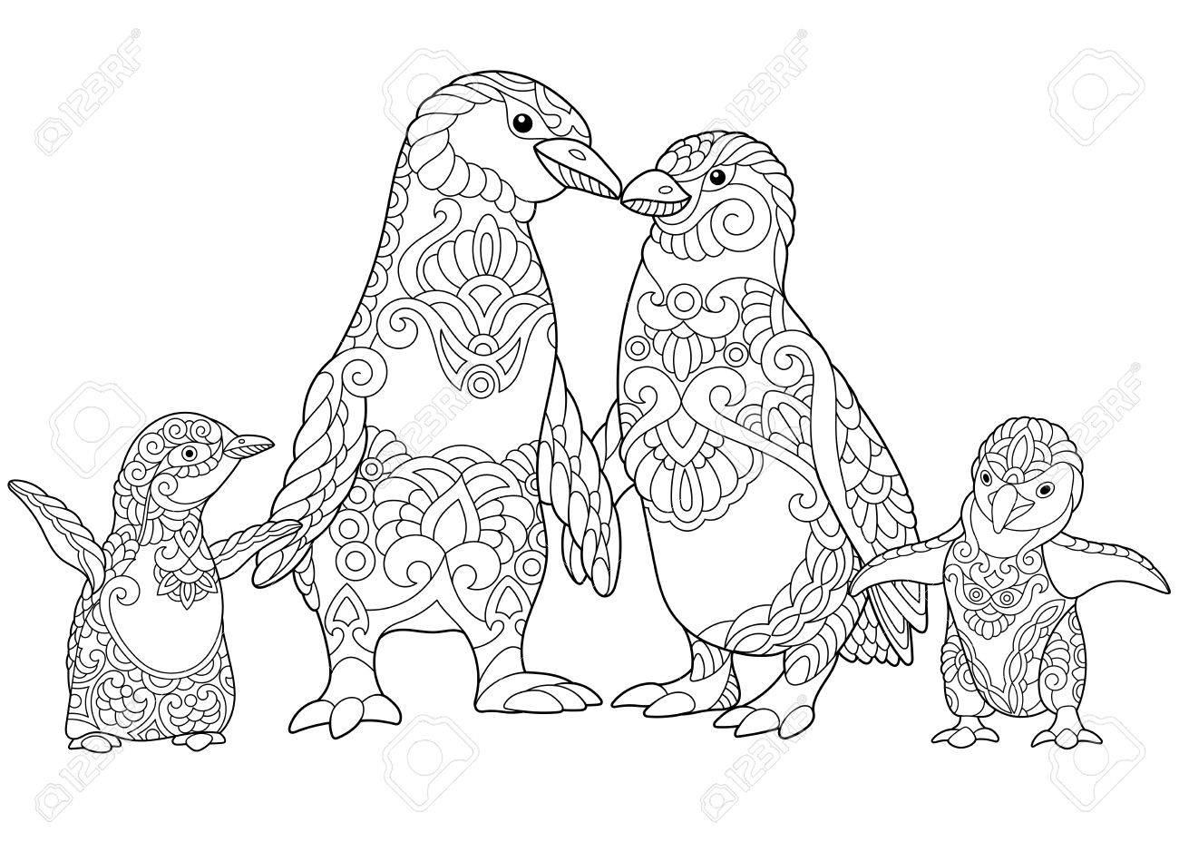 Dibujo Para Colorear De La Familia De Los Pingüinos Emperadores Aislados En Fondo Blanco Dibujo De Bosquejo A Mano Alzada Para Adultos Libro De