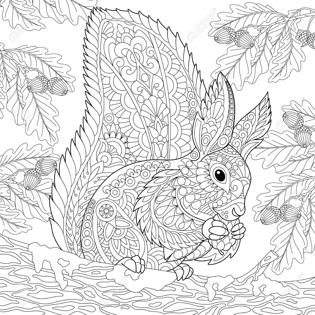 Coloring Page Of A Squirrel Sitting On An Oak Tree Branch And Oak Tree Coloring Pages