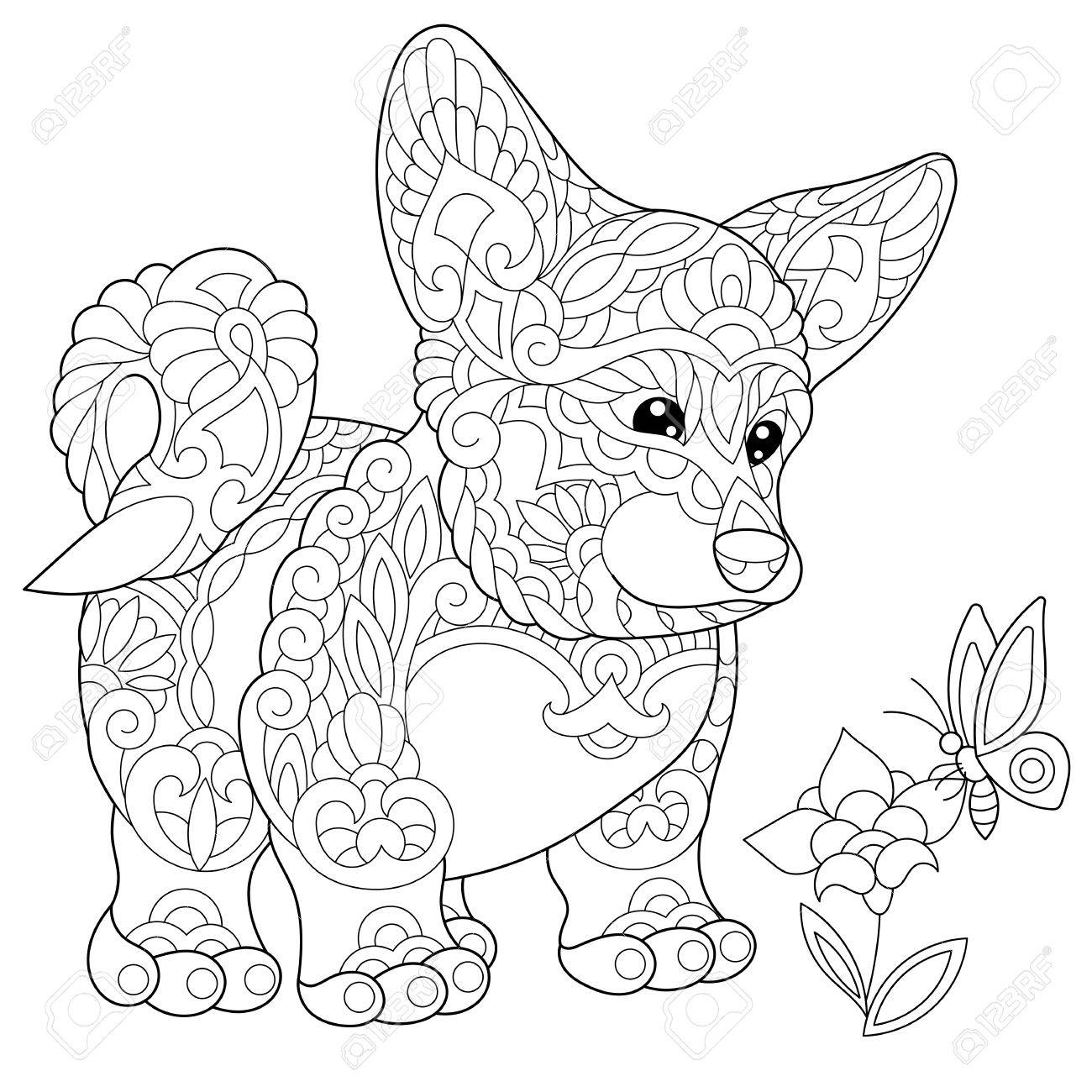 Coloring page of welsh corgi dog and butterfly on a flower. Freehand sketch drawing for adult antistress coloring book in zentangle style. - 85857382