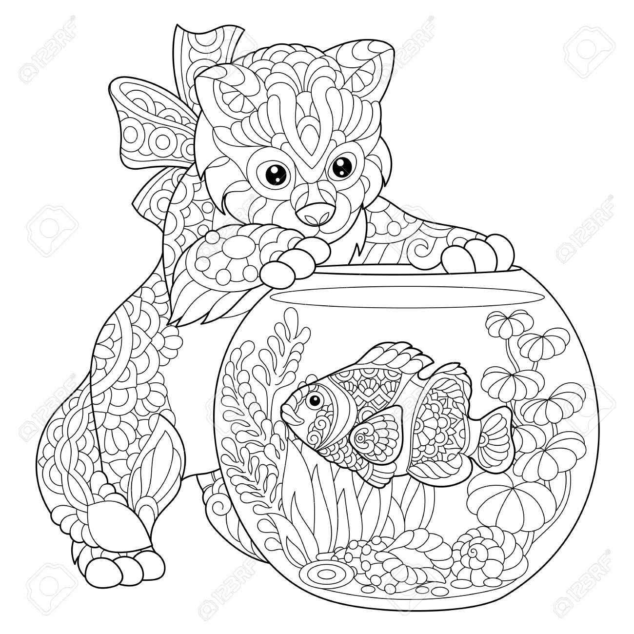 Coloring Page Of Kitten Playing With Clown Fish In Aquarium ...