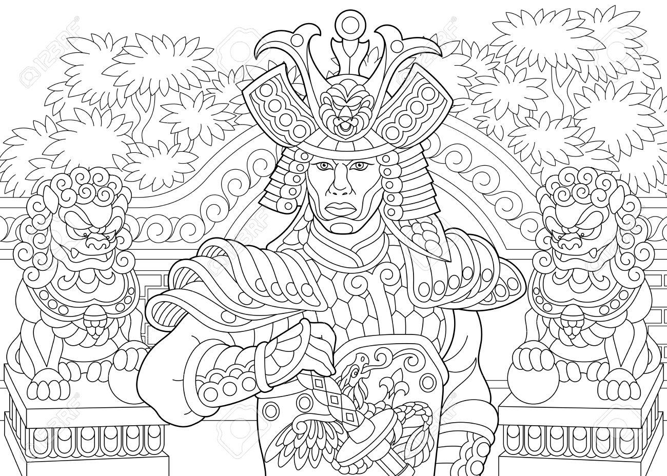 Coloriage Du Samourai Japonais Avec Des Statues De Lion En Arriere