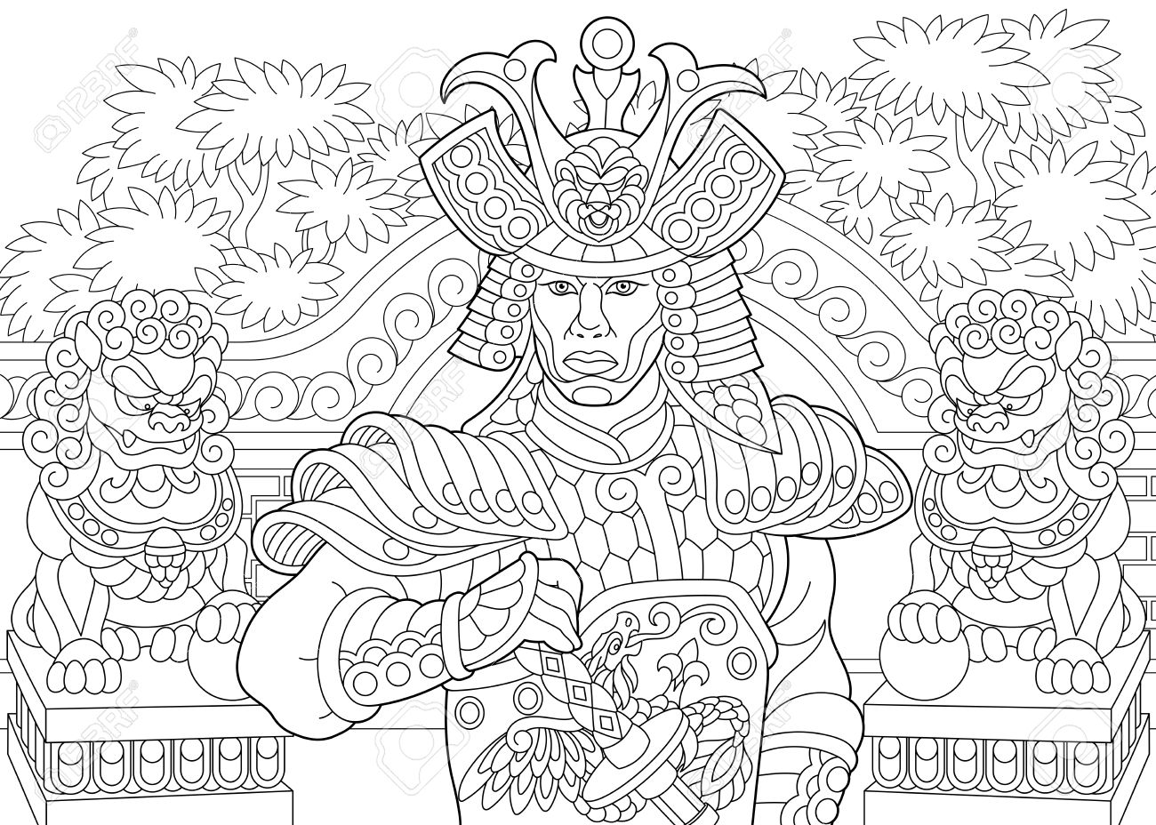 Antistress Coloring Book In Zentangle Style Page Of Japanese Samurai With Lion Statues On The Background Freehand Sketch Drawing For