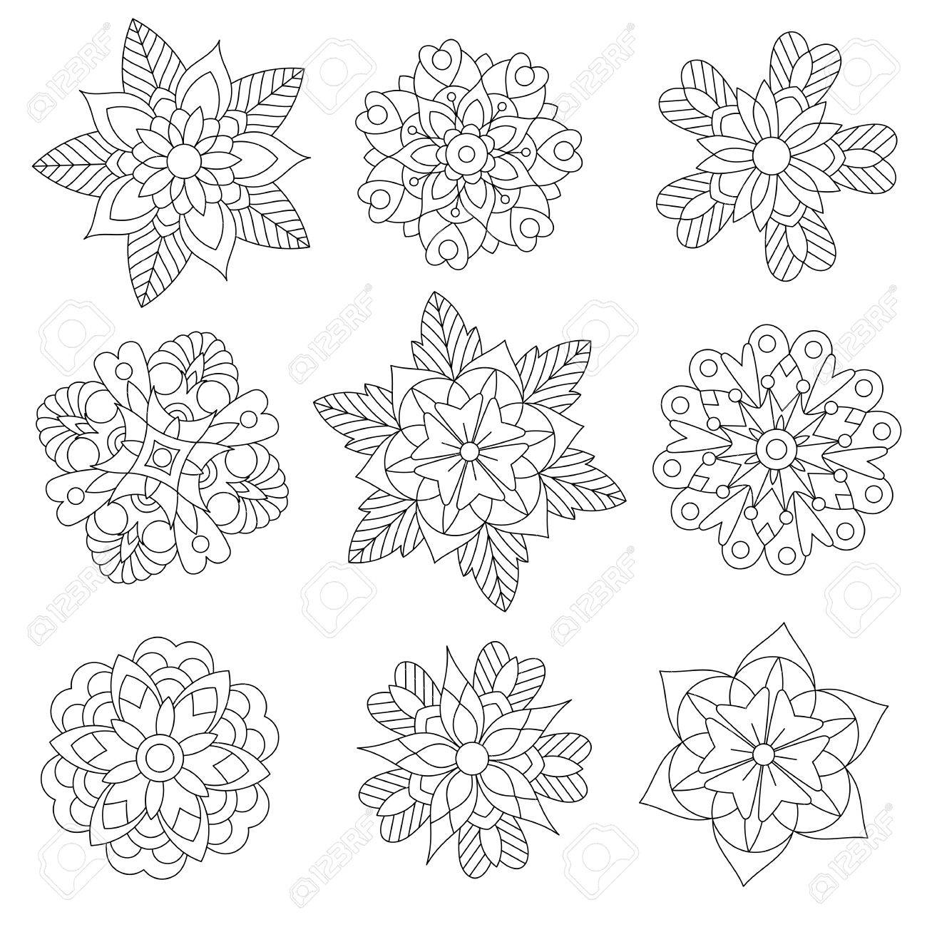 Coloring page of christmas floral decorations. Collection of snowflakes. Freehand sketch drawing for adult antistress coloring book in zentangle style. - 86207182