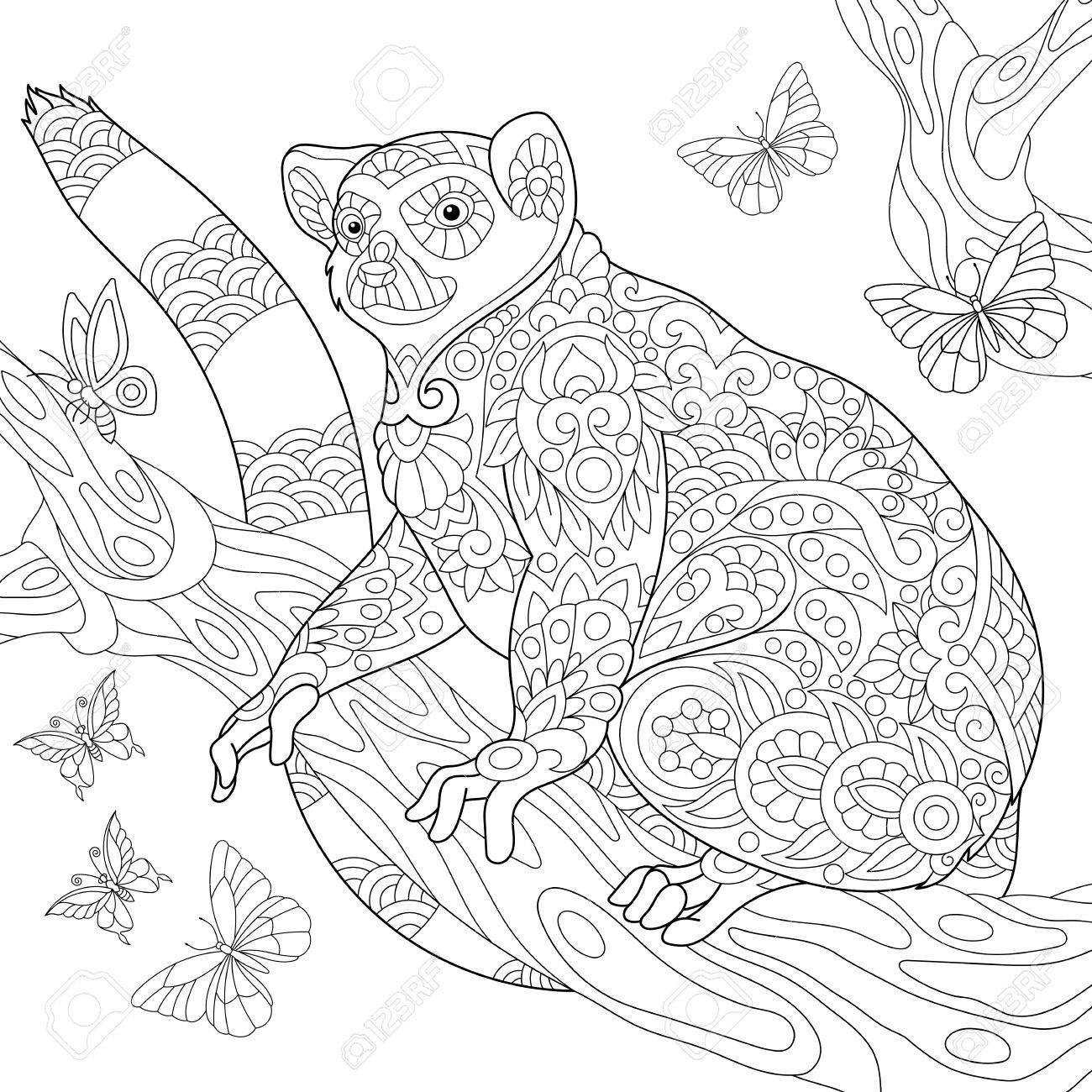 Malvorlage Von Madagaskar Lemur Von Schmetterlingen Umgeben ...