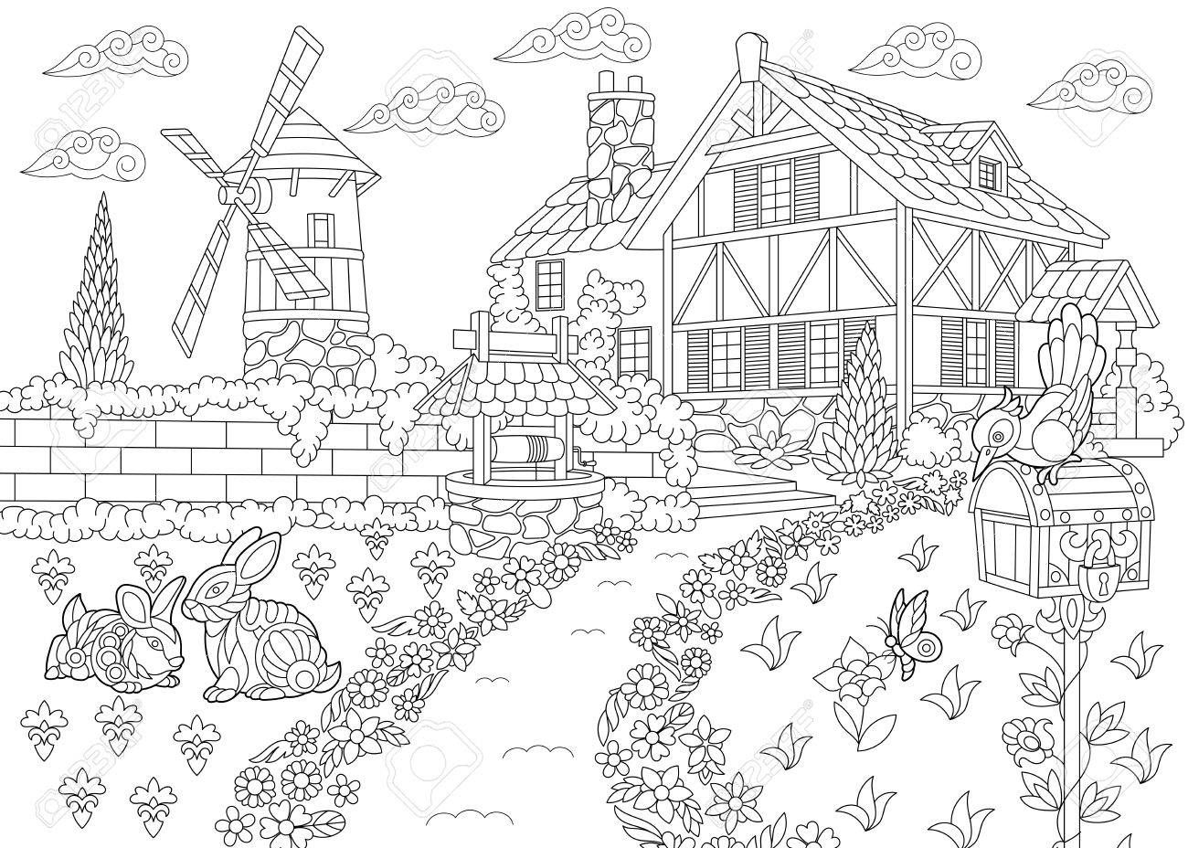 Coloriage Batiment Ferme.Coloriage Du Paysage Rural Ferme Moulin A Vent Puits D Eau Boite
