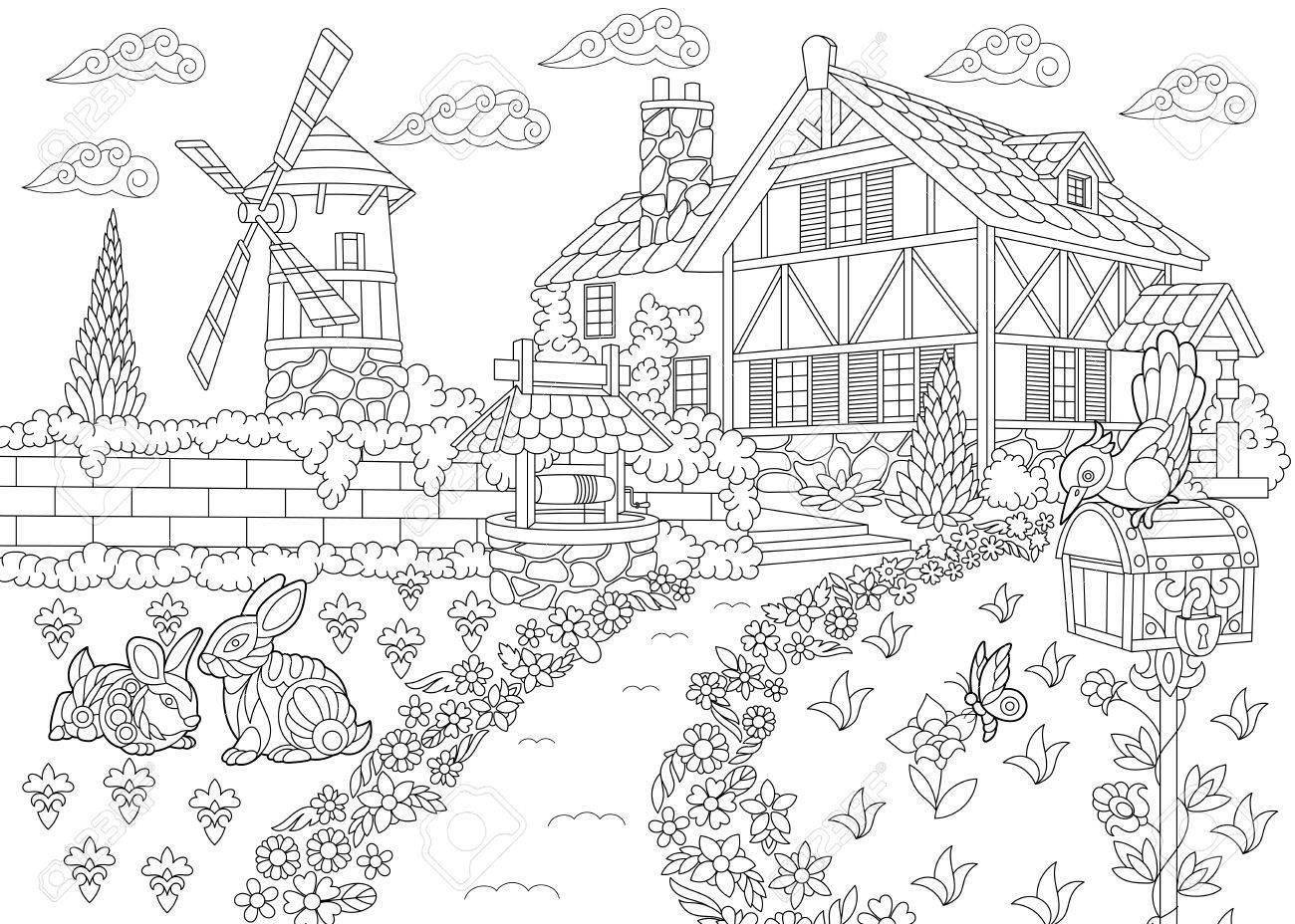 Dibujo Para Colorear De Paisaje Rural Casa De La Granja Molino De Viento Pozo De Agua Buzón Conejos Y Pájaro Carpintero Dibujo Boceto A Mano