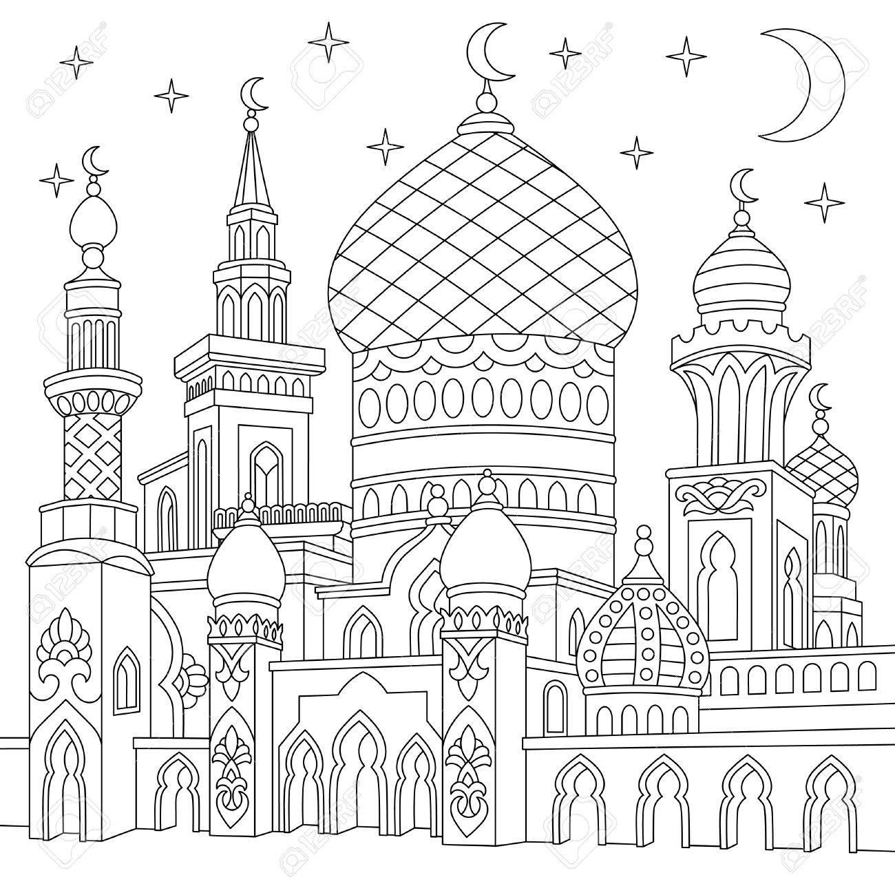 Malvorlage Der Türkischen Moschee, Halbmond, Funkelnde Sterne ...