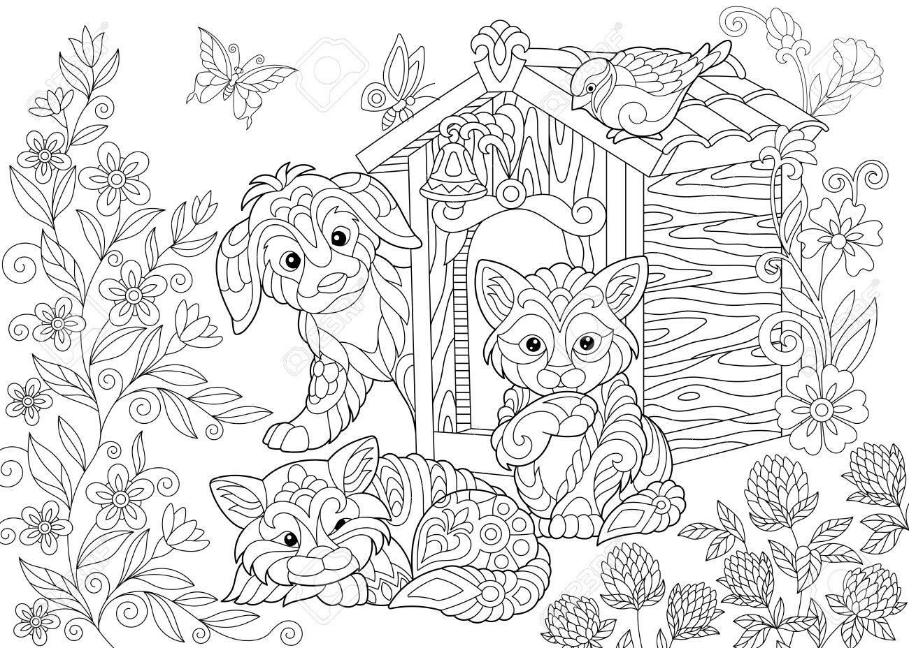 Página Para Colorear De Perro, Dos Gatos, Pájaro Gorrión Y Mariposas ...