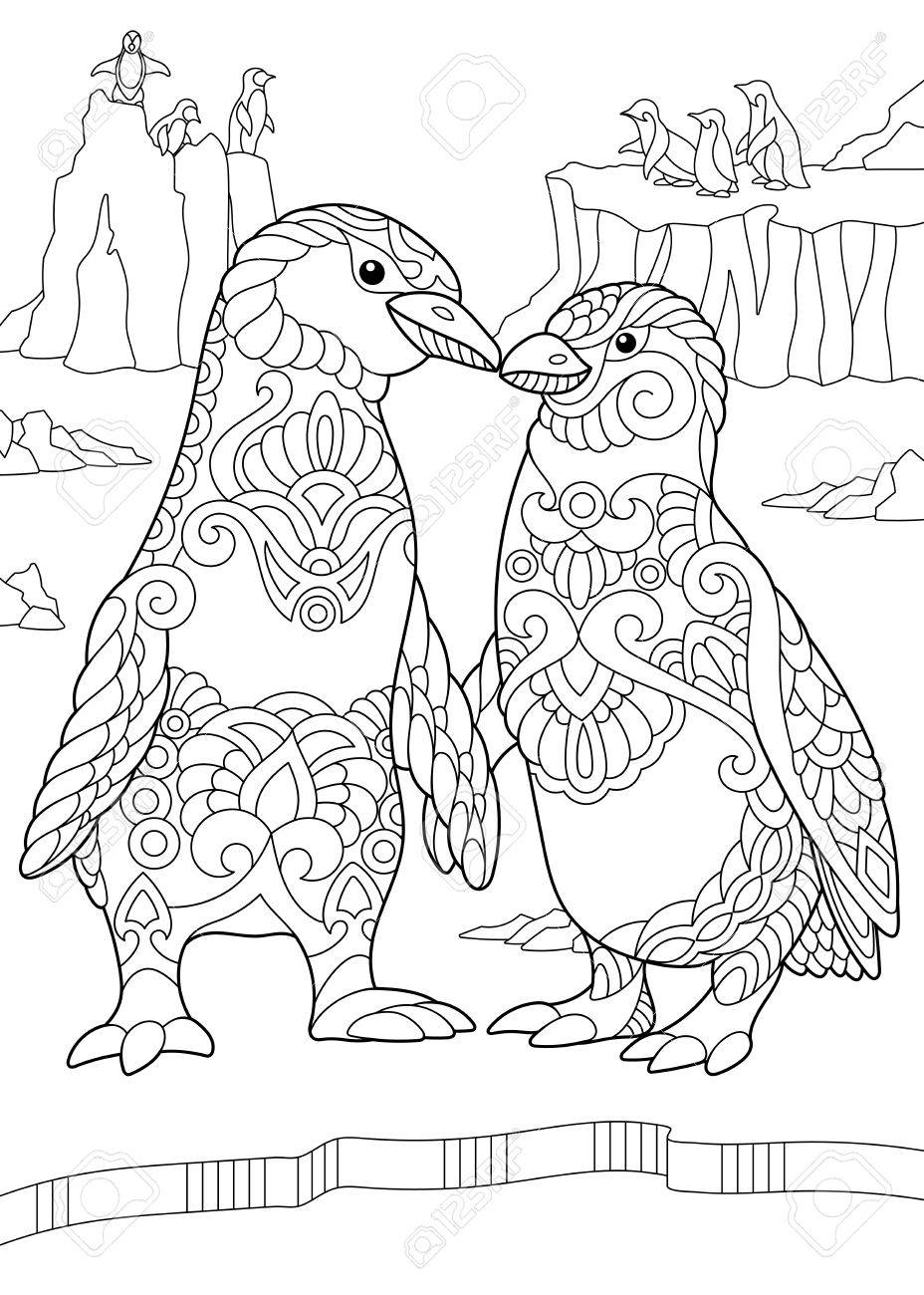 Coloring Page Of Emperor Penguins Couple Kissing Each Other ...