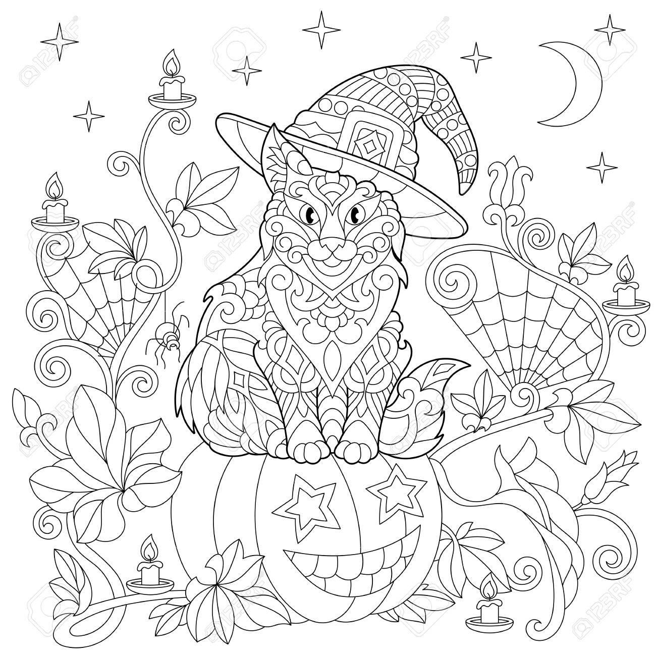 Halloween Malvorlagen. Katze In Einem Hut, Halloween-Kürbis