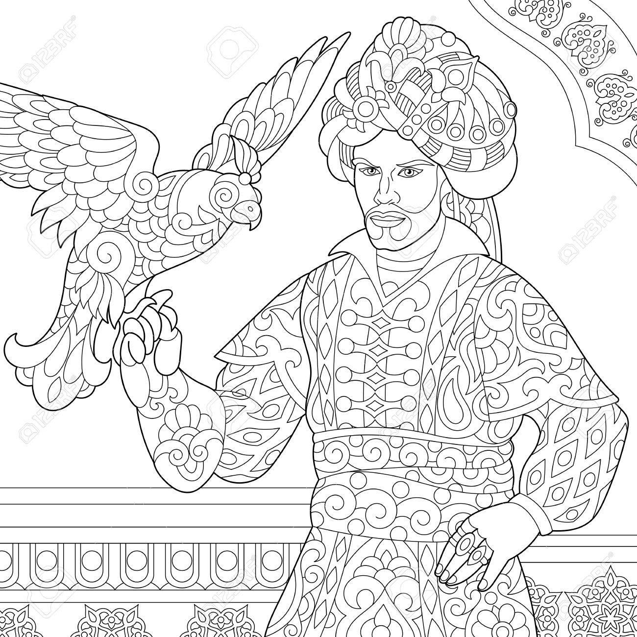 Dibujo Para Colorear De Otomano Sultán Con Halcón (halcón) Pájaro En ...