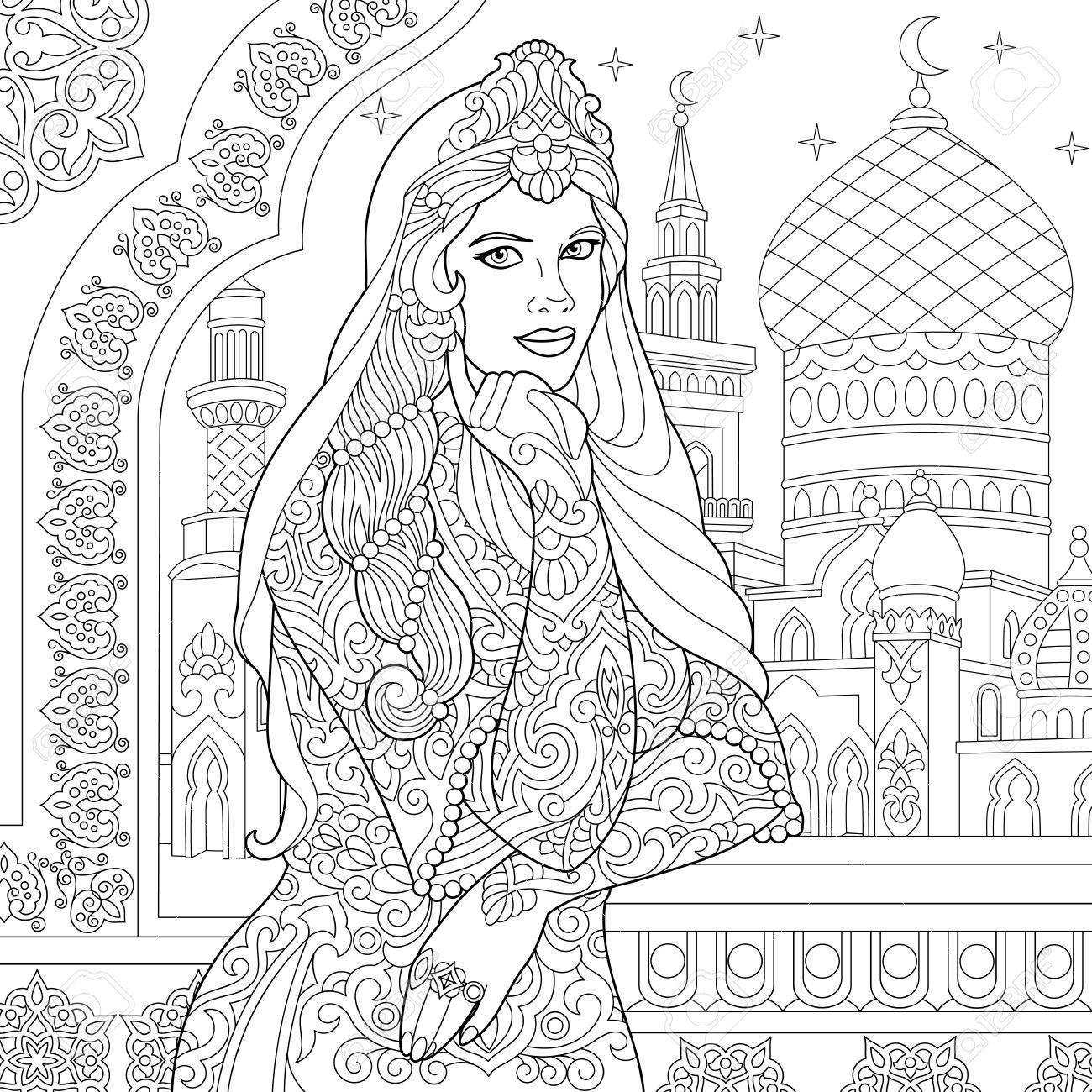 Malvorlage Der Türkischen Frau. Islamische Filigrane Dekor ...