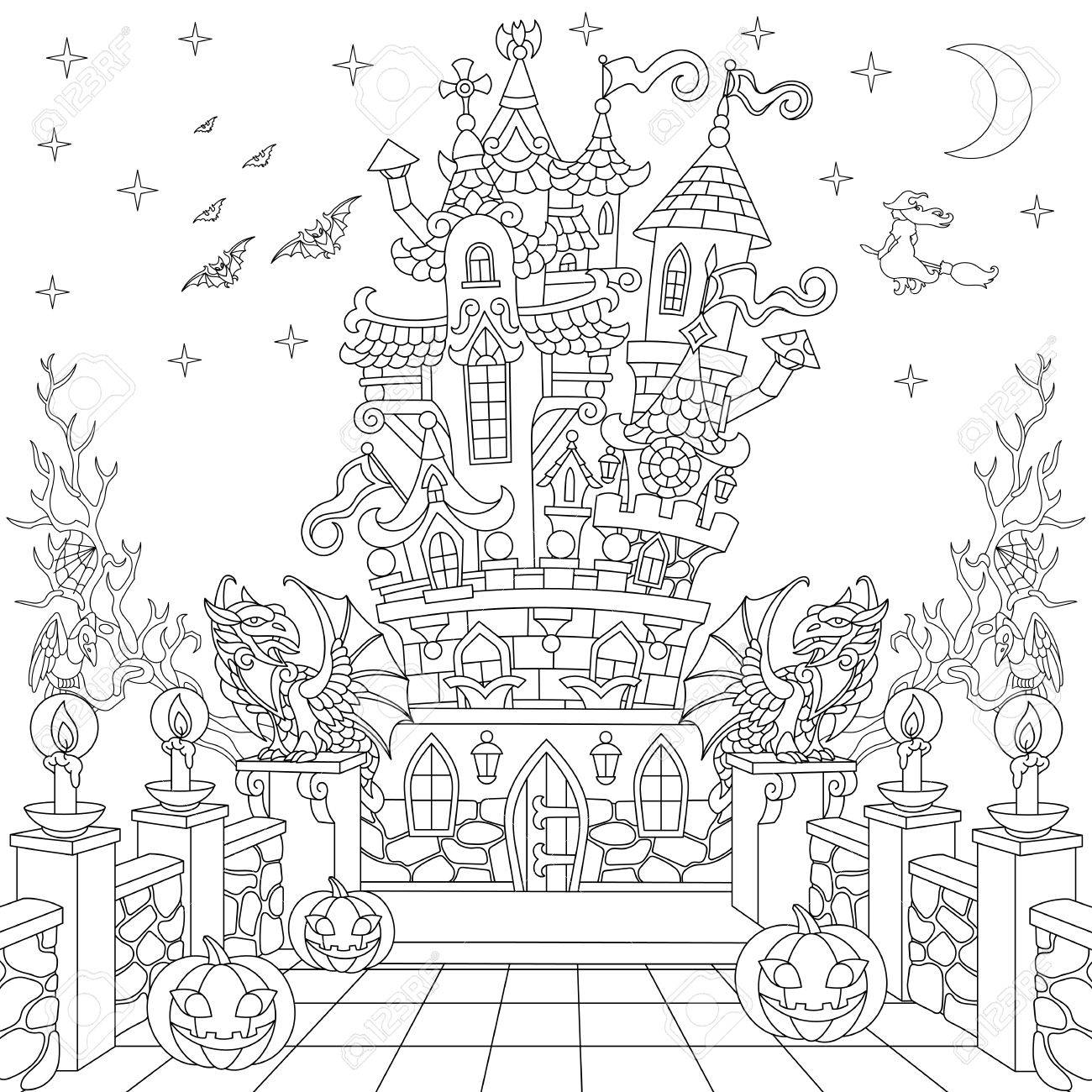 Halloween coloring page. Spooky castle, halloween pumpkins, flying bats, witch, gothic statues of dragons, moon, stars. Freehand sketch drawing for adult antistress coloring book in zentangle style. - 87349358