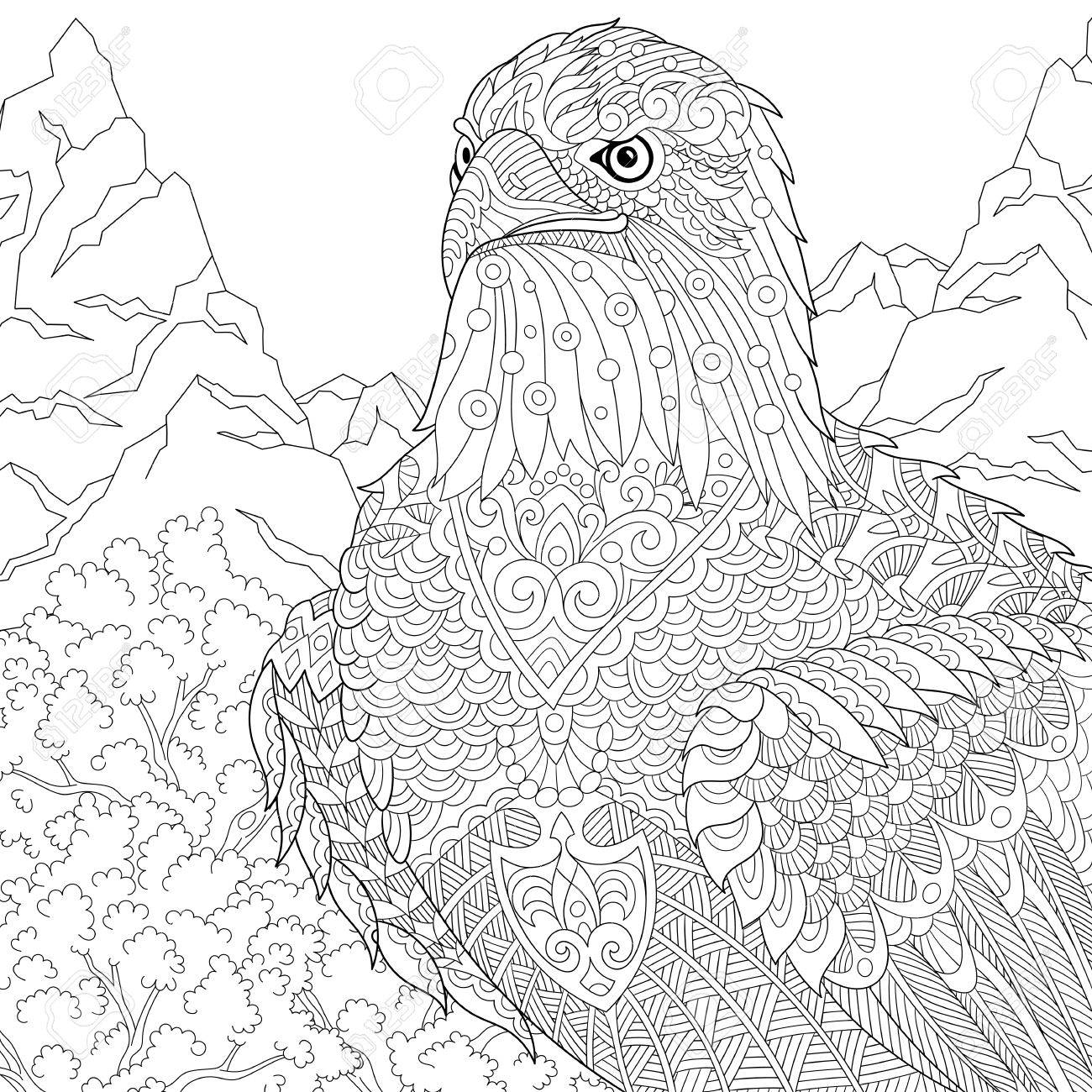 Coloring page of American bald eagle - national symbol of the..