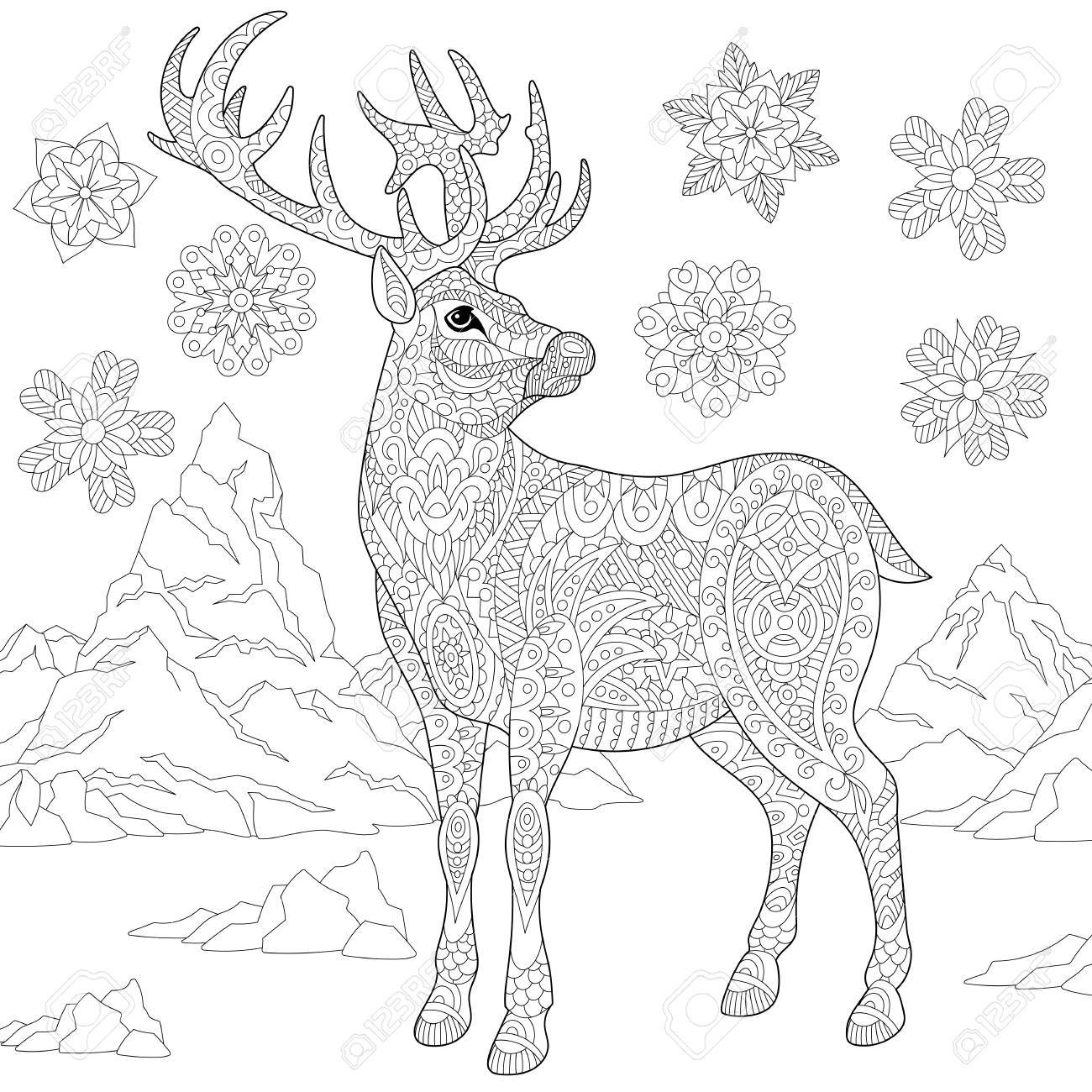 Malvorlage von Rentier und Winter Schneeflocken. Freihandskizzenzeichnung  für erwachsenes Antistressmalbuch in der zentangle Art mit
