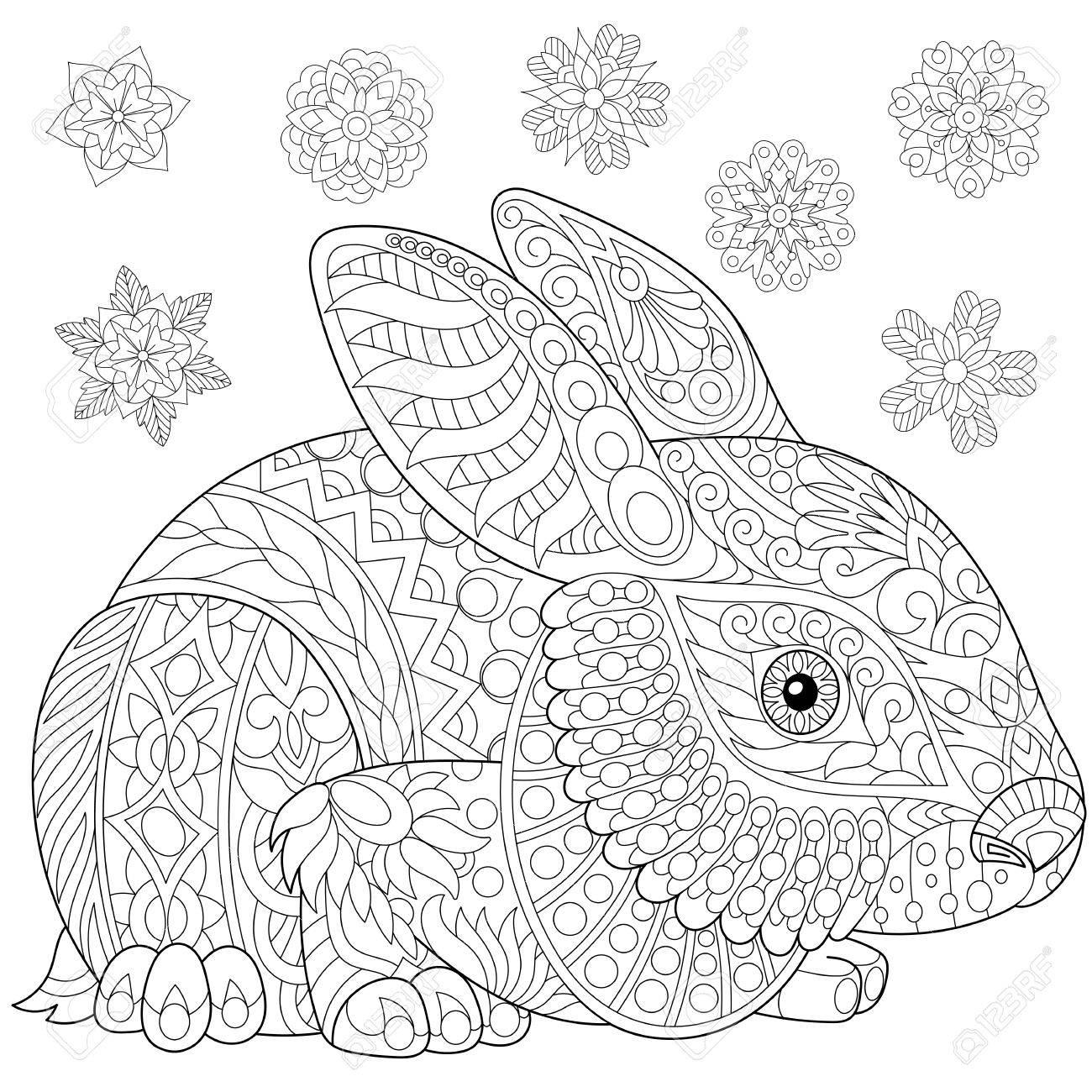 Página Para Colorear De Conejo Conejito Y Copos De Nieve De Invierno Dibujo A Mano Alzada Para Libro De Colorear Antiestrés Para Adultos En Estilo