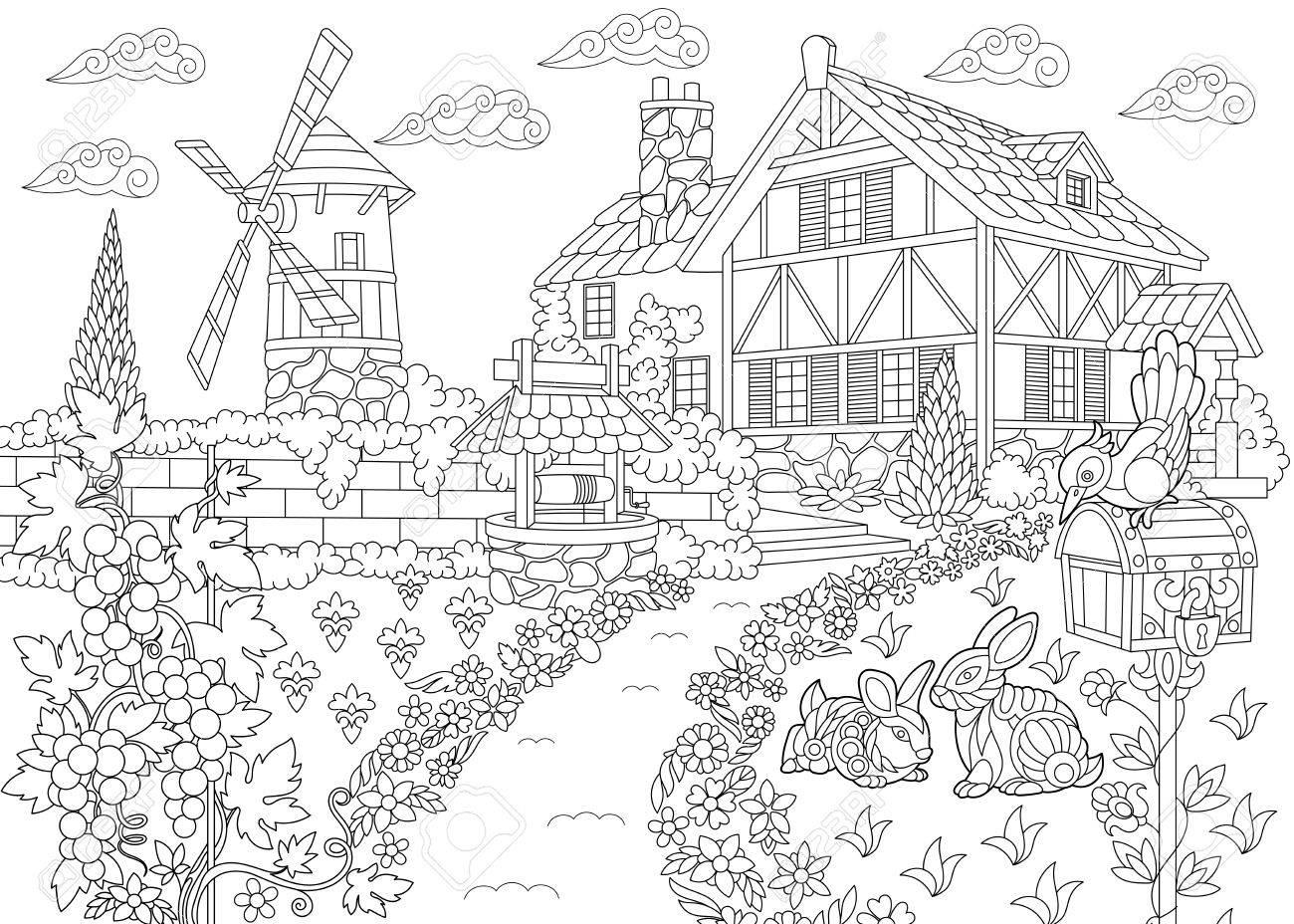 Dibujo Para Colorear De Paisaje Rural Casa De La Granja Molino De