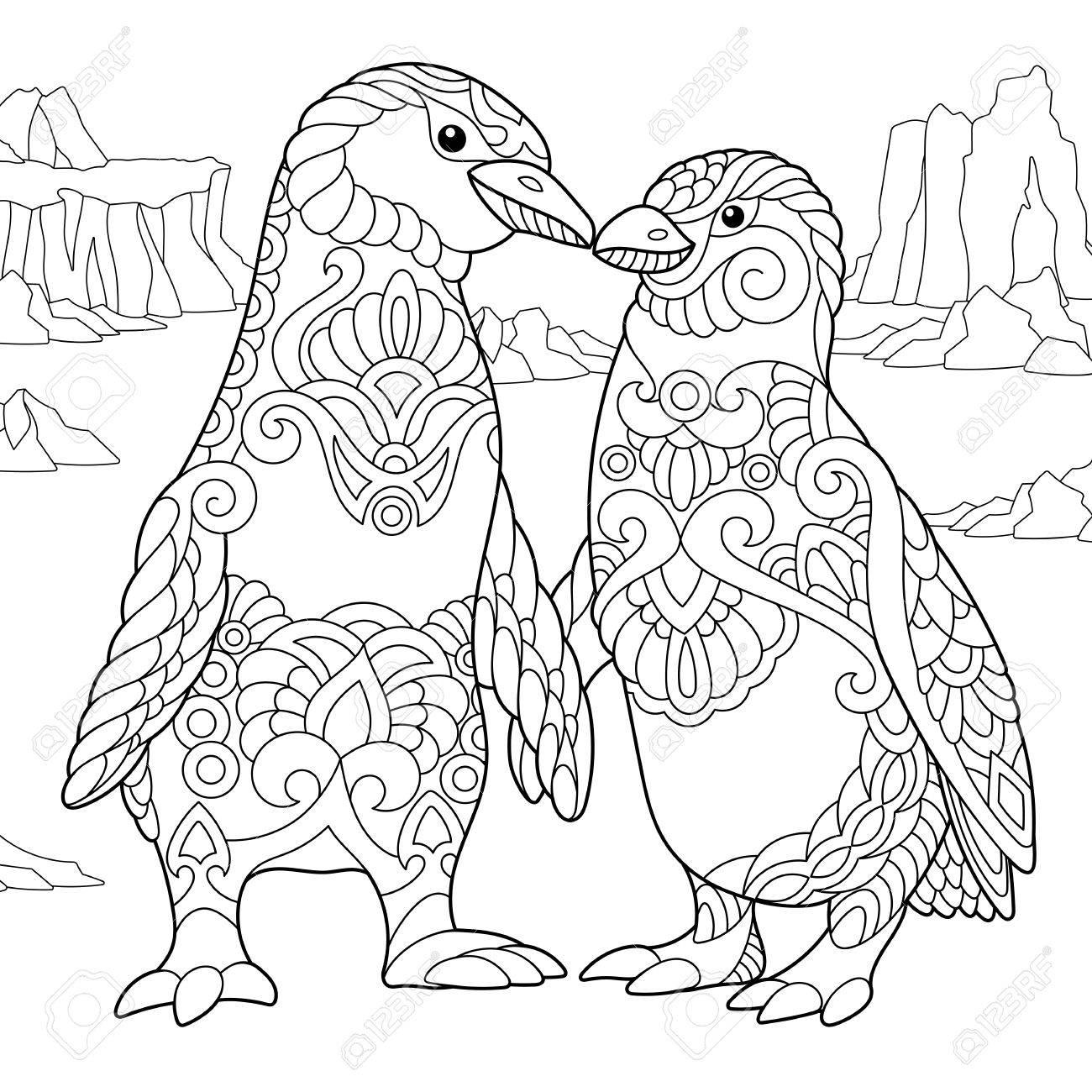 Kleurplaten Dieren Uit De Zee.Kleurplaat Van Keizerspinguins Verliefde Paar Schets Uit De Vrije Hand Voor Adulte Babyslof Kleurboek