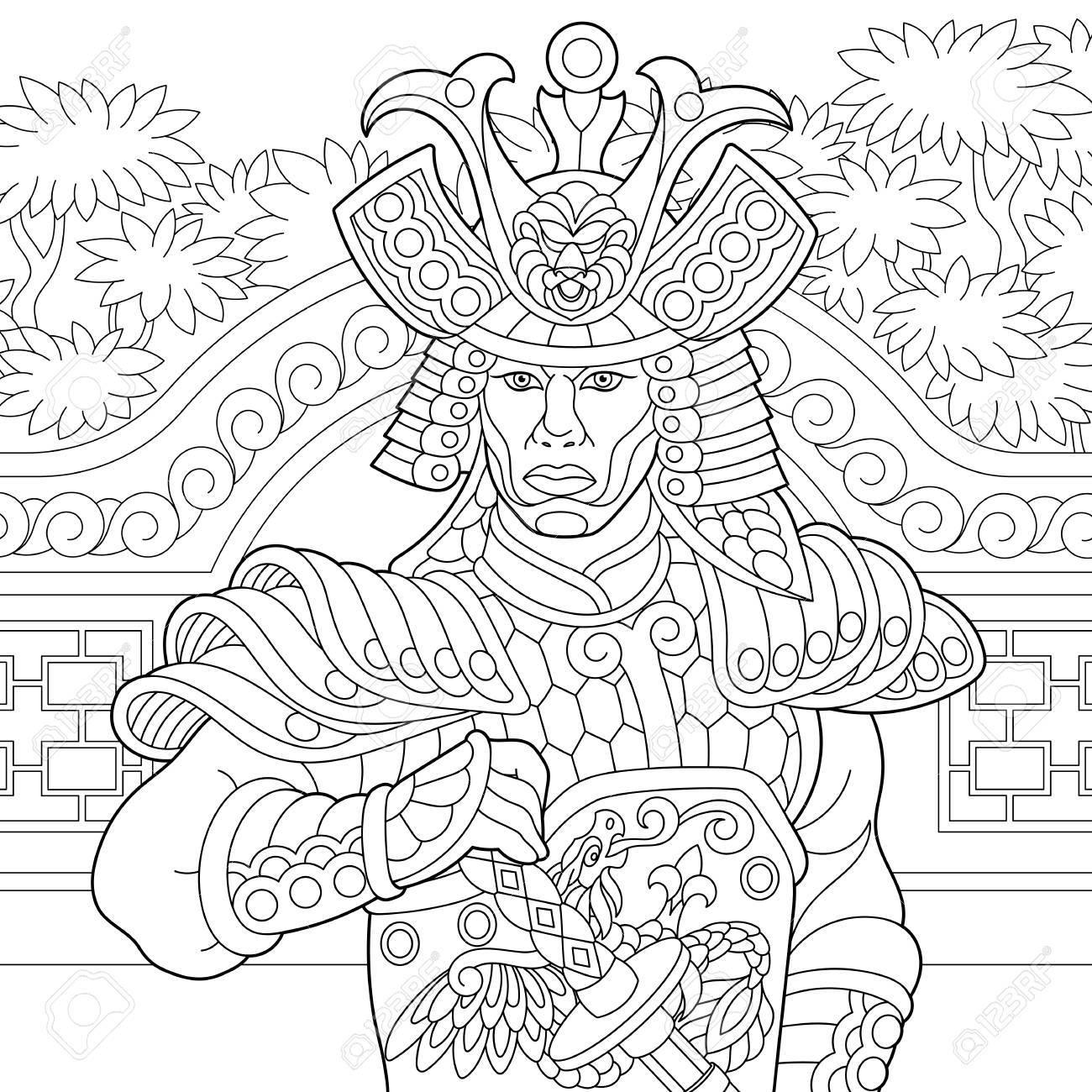 Coloriage Adulte A Imprimer Japon.Coloriage De Samourai Japonais Avec Epee Katana Dessin De Croquis A Main Levee Pour Livre De Coloriage Antistress Adulte