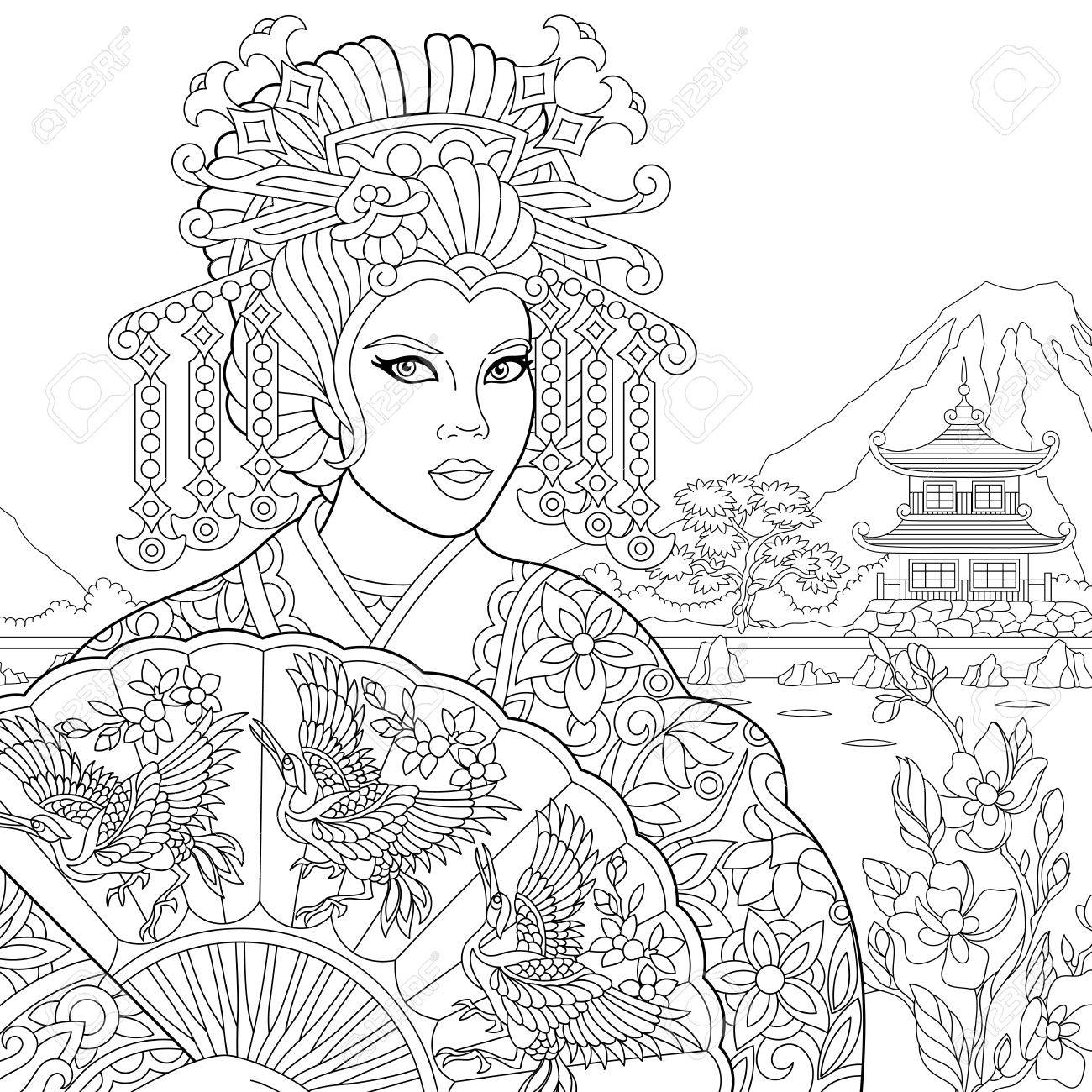 Antistress Coloring Book Page Of Geisha Japanese Dancing Actress Holding Paper Fan With Crane Birds