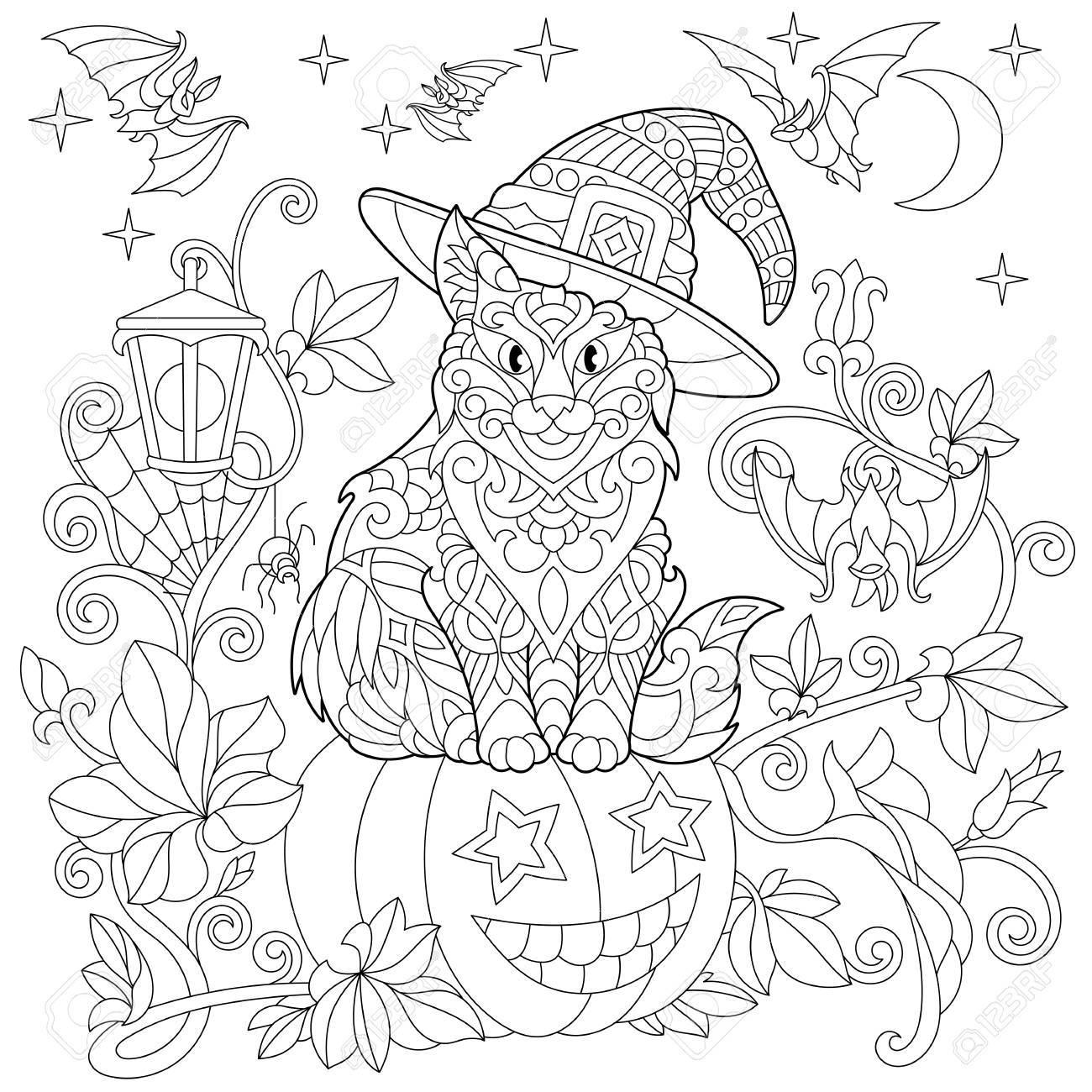 Halloween Malvorlagen Katze In Einem Hut Halloween Kurbis Fliegende Fledermause Spinnennetz Hangende Laterne Mond Und Sterne Freihandskizze Zeichnung Fur Erwachsene Antistress Malbuch Lizenzfrei Nutzbare Vektorgrafiken Clip Arts Illustrationen