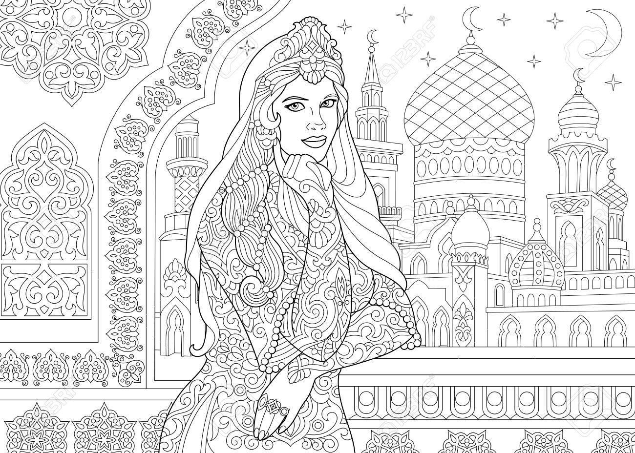 Coloriage De Femme Turque Decor De Filigrane Islamique Mosquee
