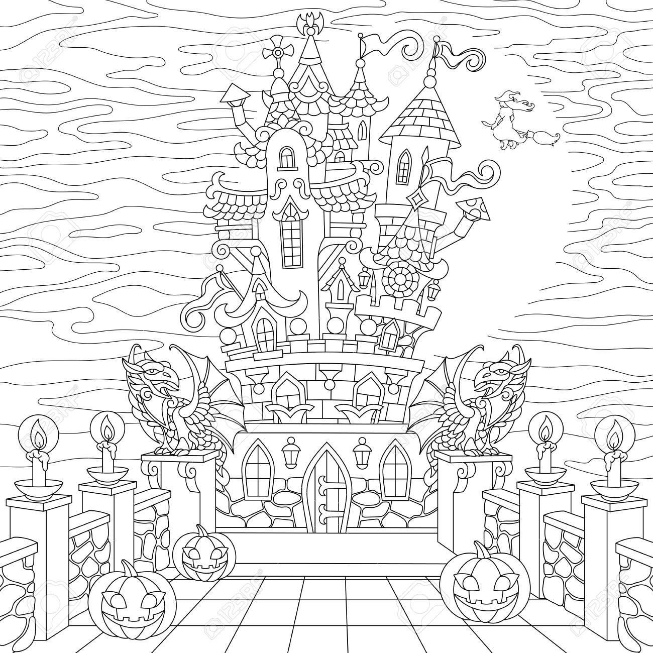 Página Para Colorear De Halloween. Castillo Espeluznante, Calabazas ...