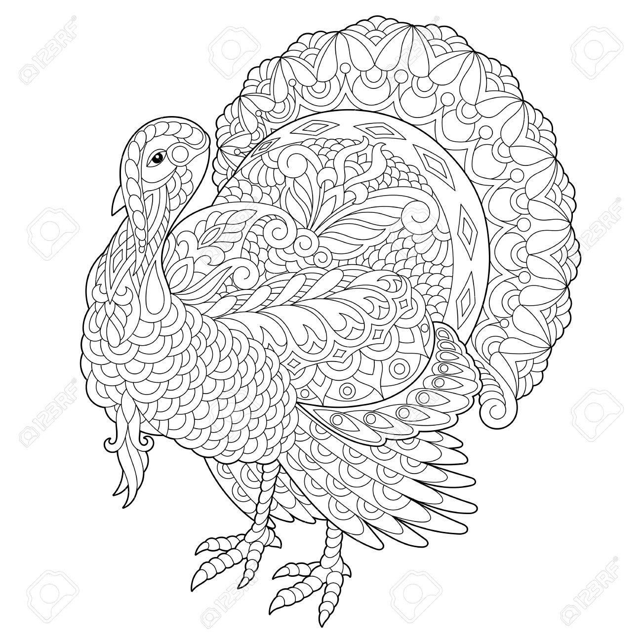 Página Para Colorear De Turquía Para La Tarjeta De Felicitación Del ...