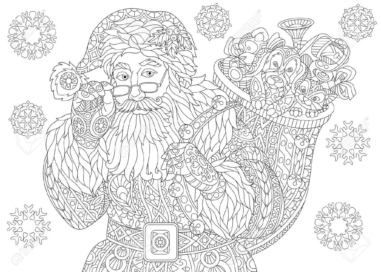 New Year Greeting Card Or Adult Antistress Coloring Book Page Of Santa Claus With Full Bag Holiday Gifts Christmas Vintage Snowflakes