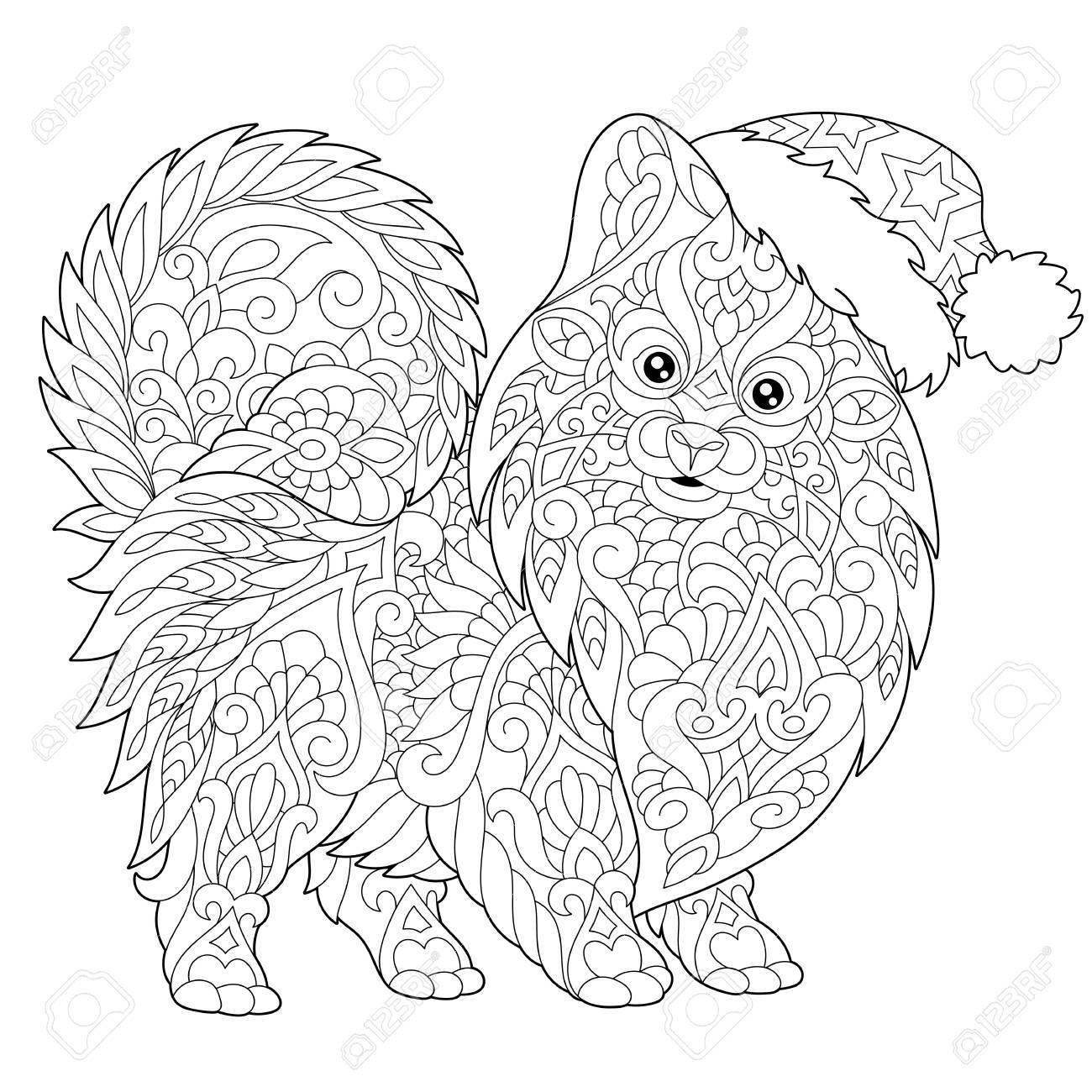 ポメラニアン犬シンボルの 2018 旧正月のページのぬりえフリーハンド スケッチ落書きと Zentangle 要素とメリー クリスマス グリーティング カードまたは大人抗ストレスのぬりえ本を描画します
