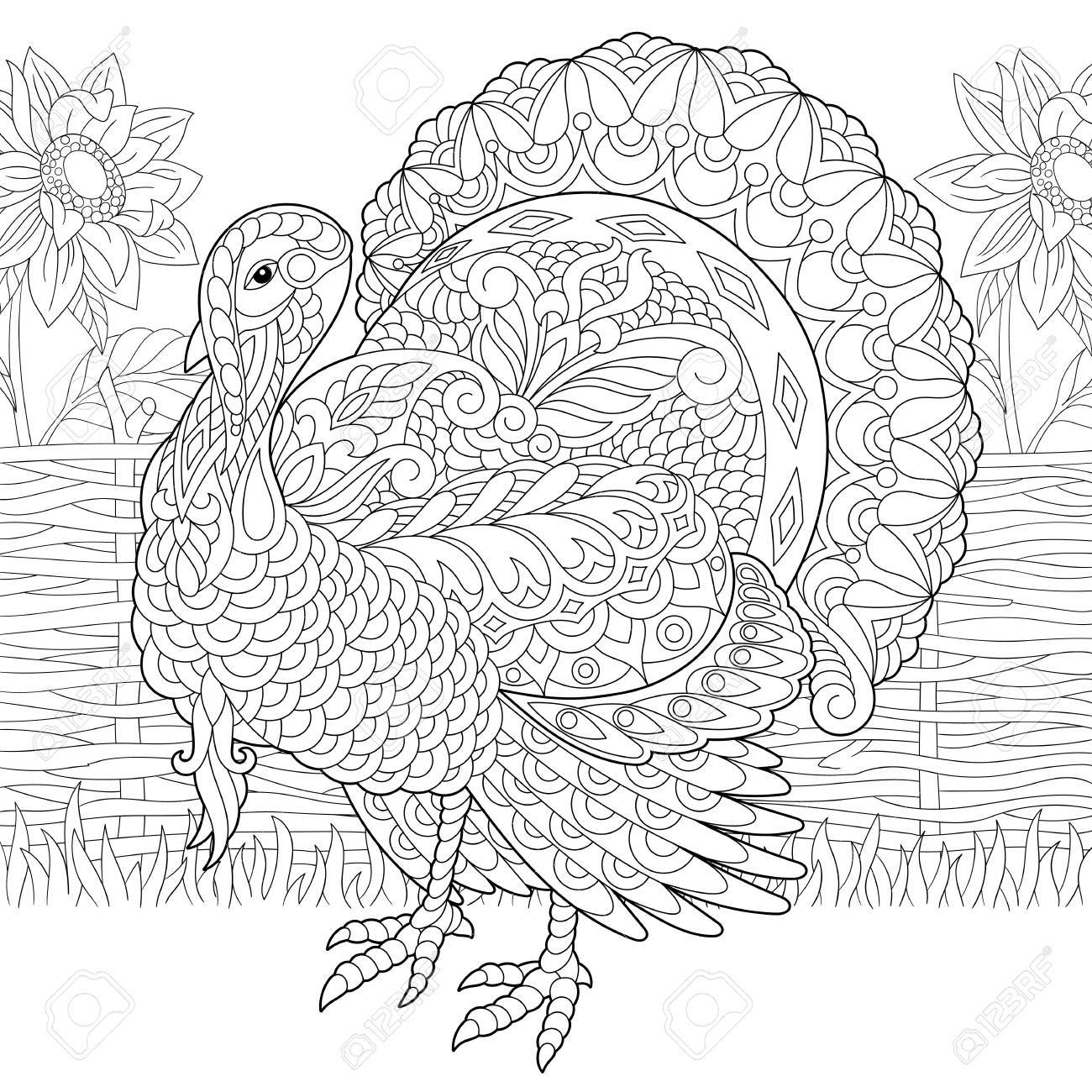 Coloring page of turkey and sunflowers on the farm yard. Freehand sketch drawing for Thanksgiving Day greeting card or adult antistress coloring book. - 89749242